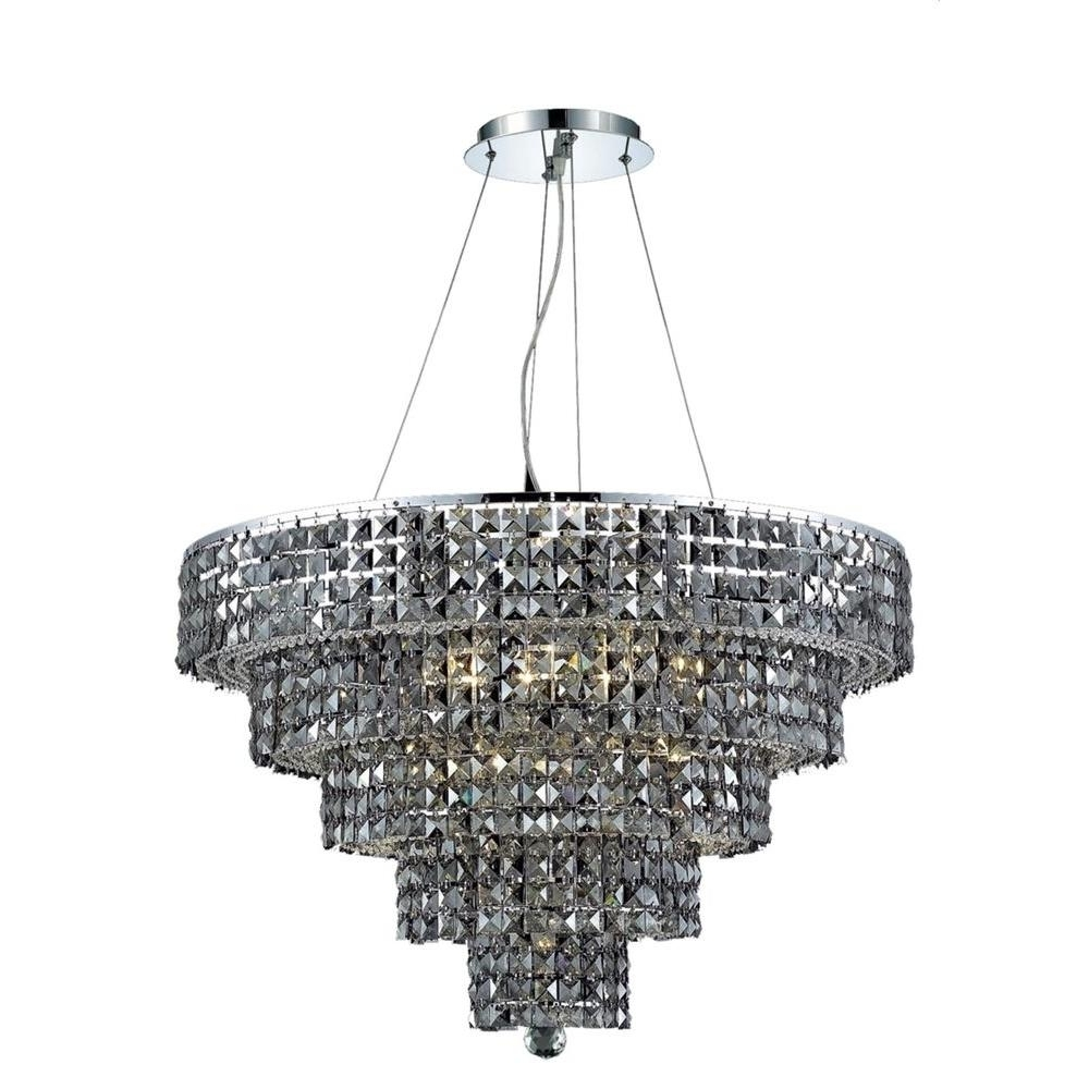 Preferred Grey Crystal Chandelier Pertaining To Elegant Lighting 17 Light Chrome Chandelier With Silver Shade Grey (View 14 of 15)