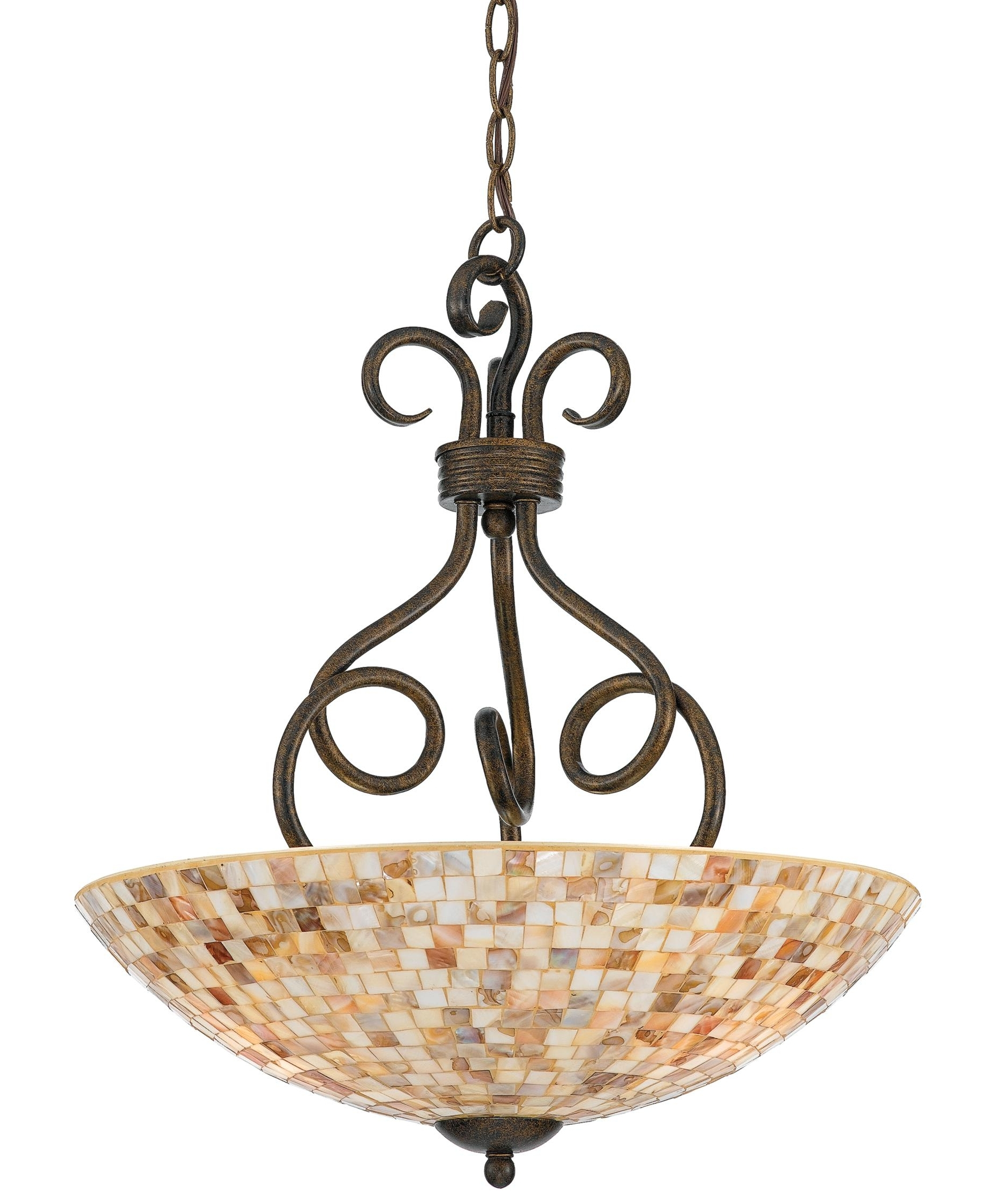 Preferred Inverted Pendant Chandeliers Within Light : Awesome Quoizel Monterey Mosaic Inch Large Pendant For Chic (View 12 of 15)