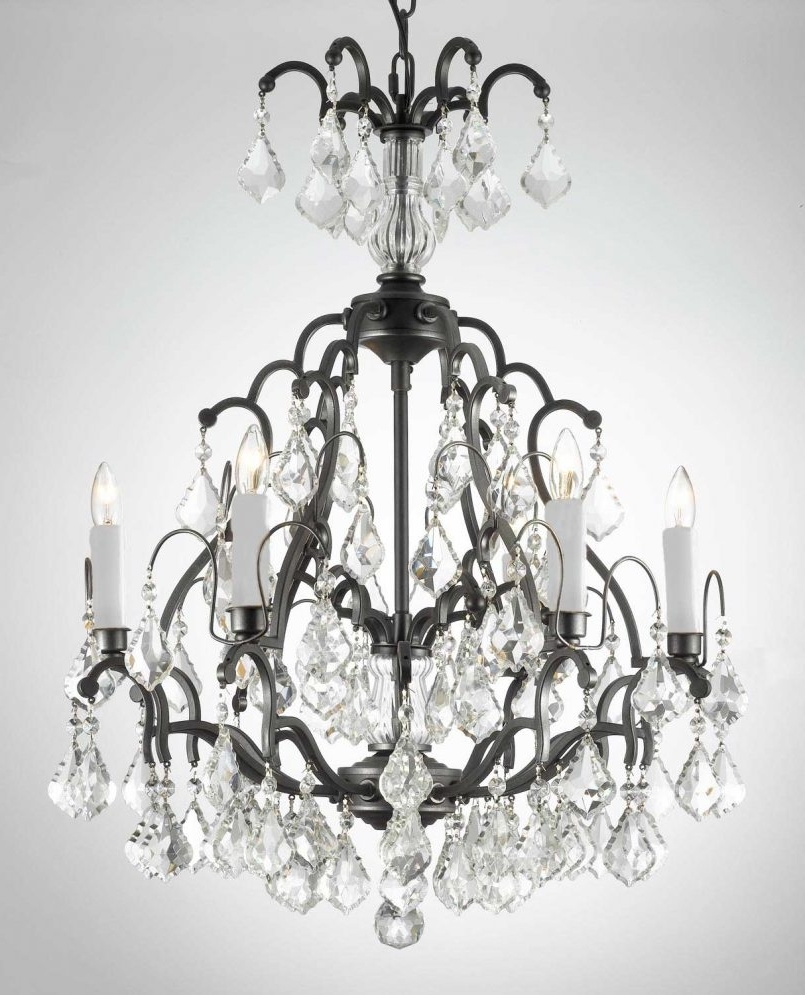 Preferred Light : Astonishing Iron And Crystal Chandeliers Shabby Chic Black In Large Black Chandelier (View 11 of 15)