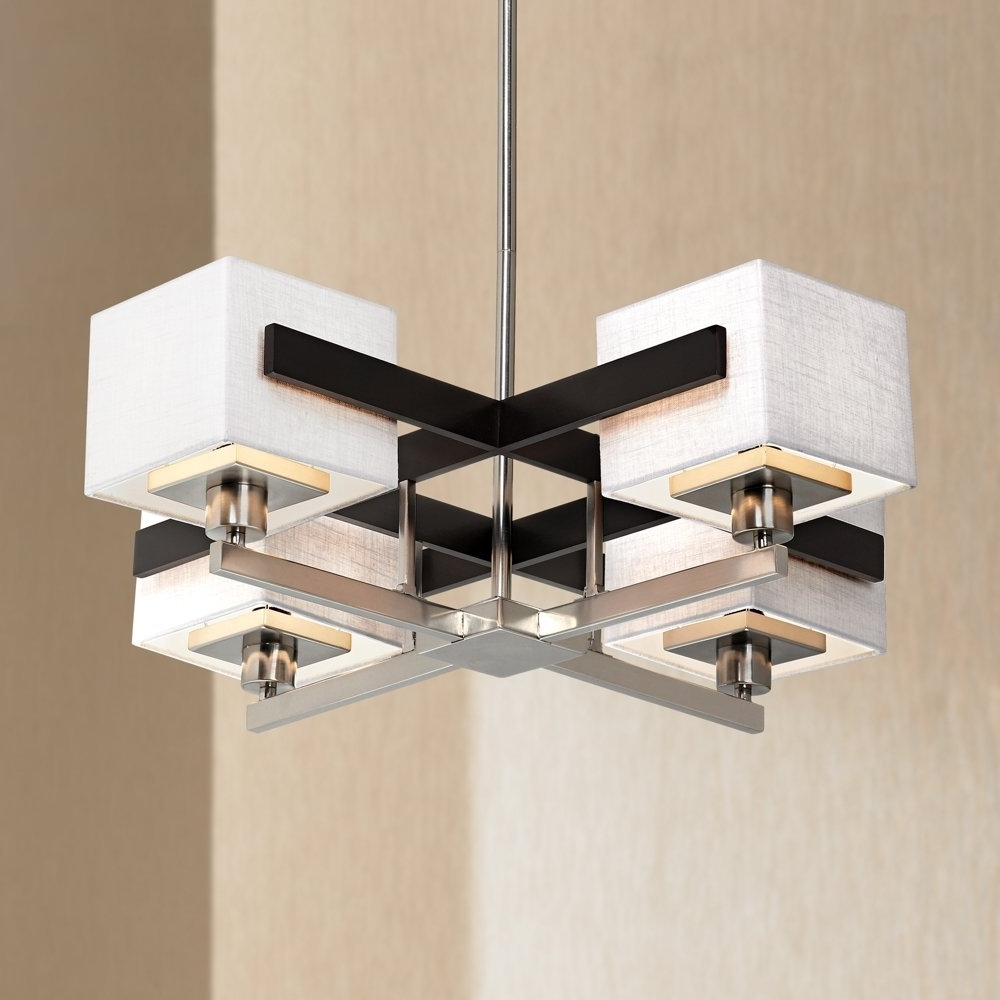 Preferred Possini Euro Design Mirrored Grids Metal And Wood Chandelier With Mirrored Chandelier (View 10 of 15)