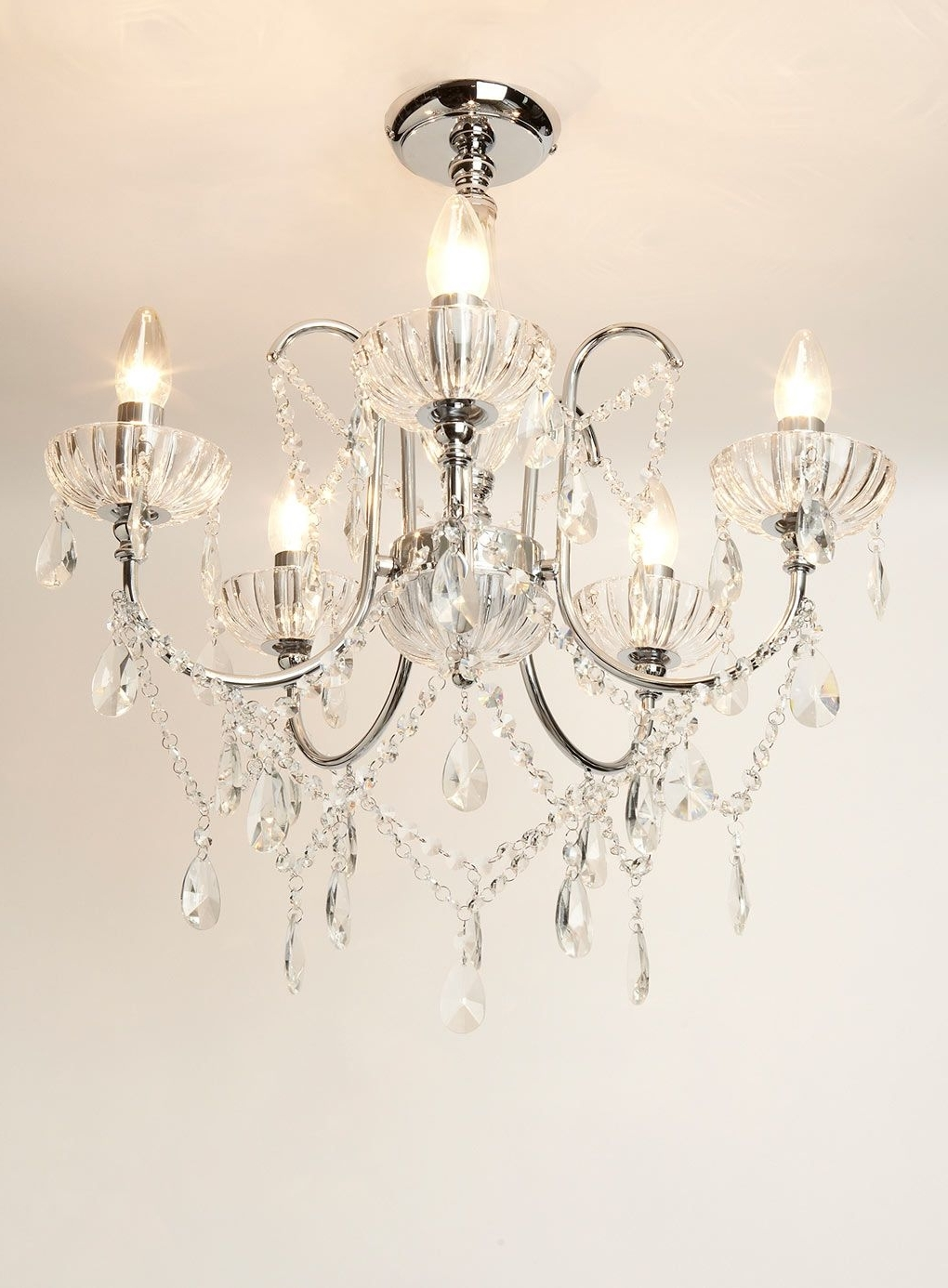 Preferred Sapparia 5 Light Flush Chandelier Bhs, £60 (Was £120), Living Throughout Flush Fitting Chandelier (View 2 of 15)