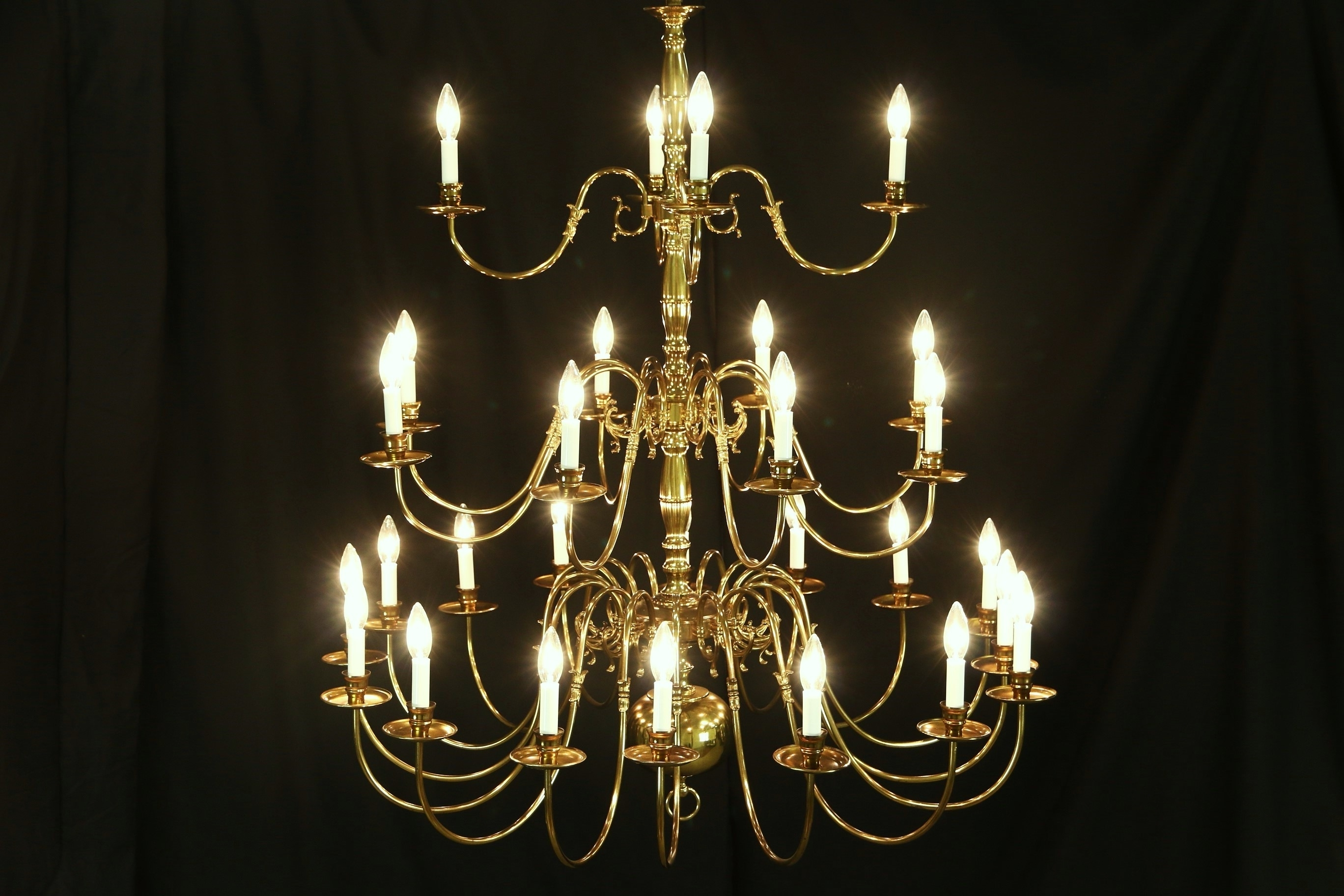 Preferred Sold – Georgian Style Chandelier, Vintage 3 Tier Patinated Brass, 28 With Regard To Georgian Chandelier (View 12 of 15)