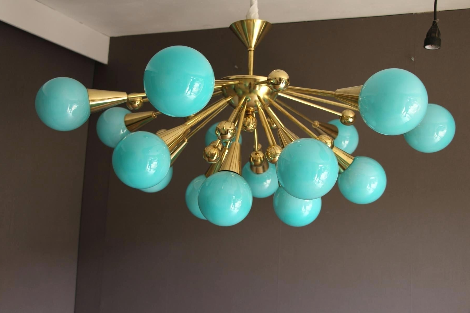Preferred Turquoise Blown Glass Chandeliers Inside Hand Blown Glass Lamp Shades Six Arms Turquoise With Gold Flecks (View 8 of 15)