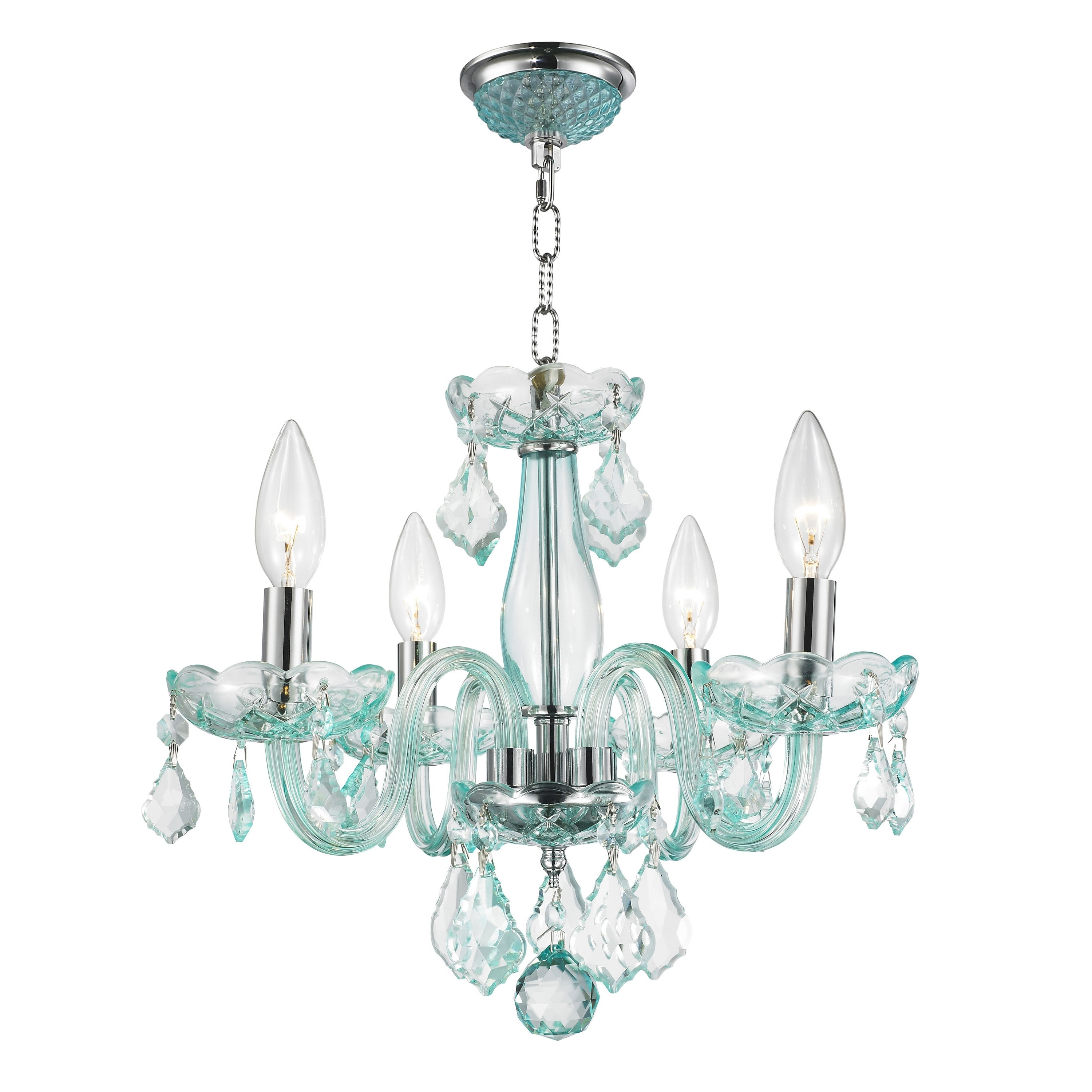 Preferred Turquoise Chandelier Crystals Pertaining To Kids Room Glamorous 4 Light Full Lead Turquoise Blue Crystal (View 6 of 15)