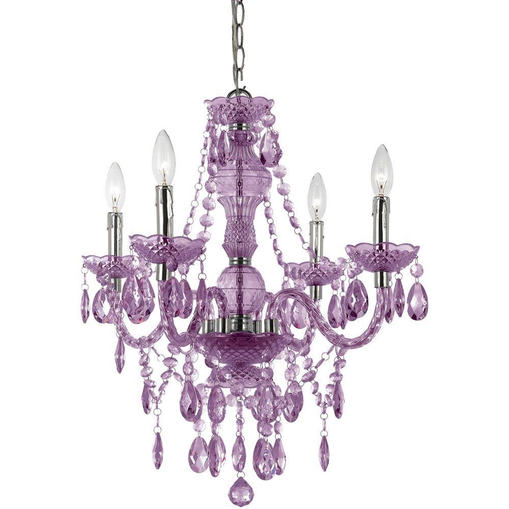 Purple Crystal Chandelier Lights Intended For Most Up To Date Af Lighting Naples 4 Light Chrome Mini Chandelier With Light Purple (View 9 of 15)