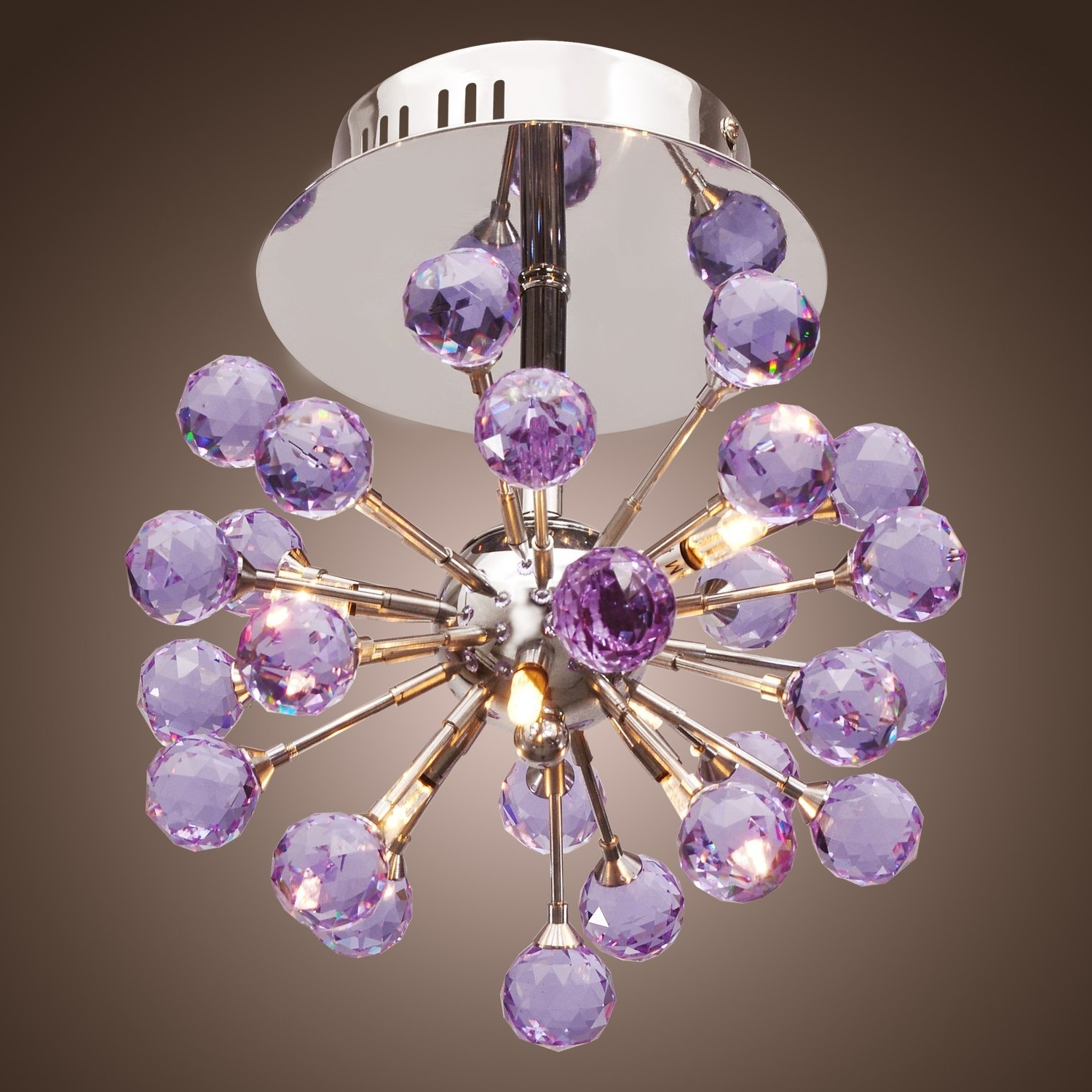 Purple Crystal Chandelier Lights With Regard To Favorite Lightinthebox 6 Light Floral Shape K9 Crystal Ceiling Light Purple (View 12 of 15)