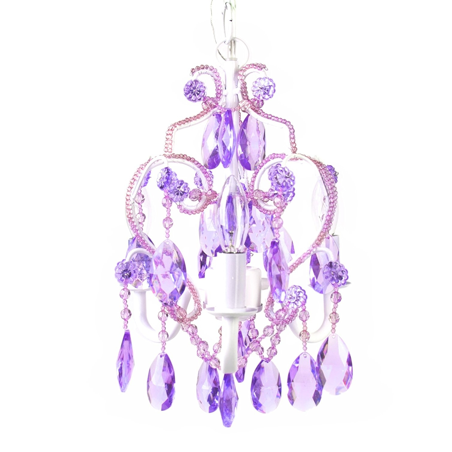 Purple Crystal Chandeliers With Preferred Amazon: Tadpoles Three Bulb Chandelier, Lavender Topaz: Baby (View 9 of 15)