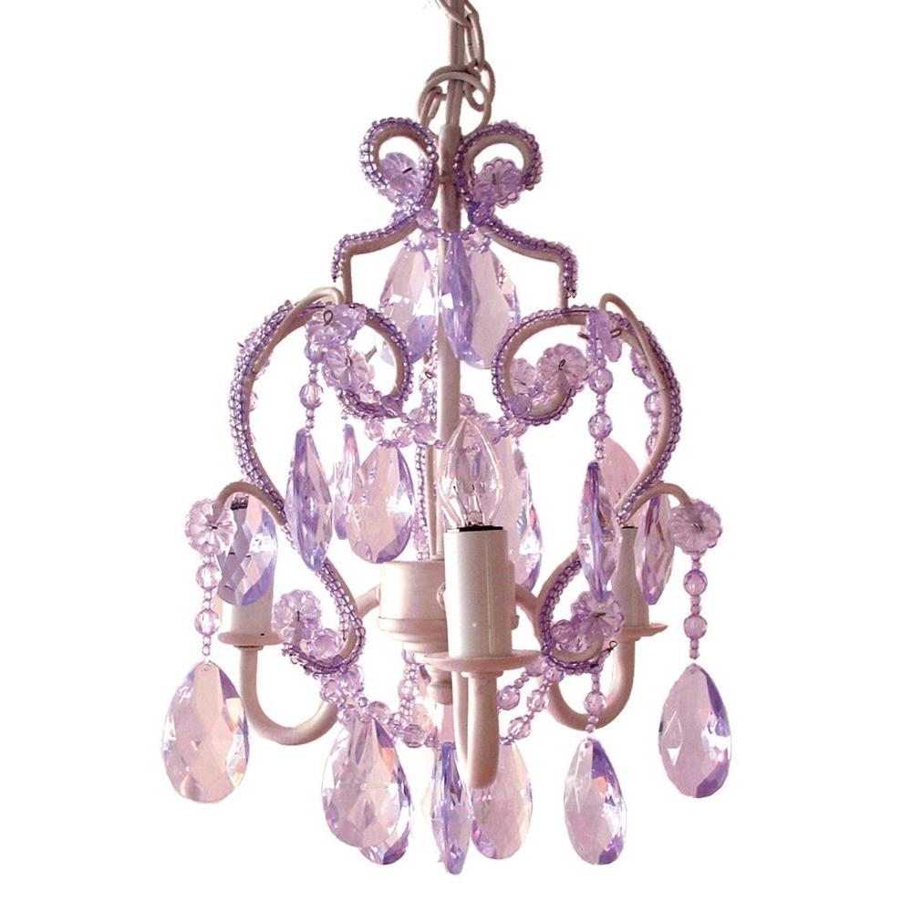 Purple Crystal Chandeliers Within Most Up To Date Tadpoles 3 Light White Diamond Mini Chandelier Cchapl010 – The Home (View 10 of 15)