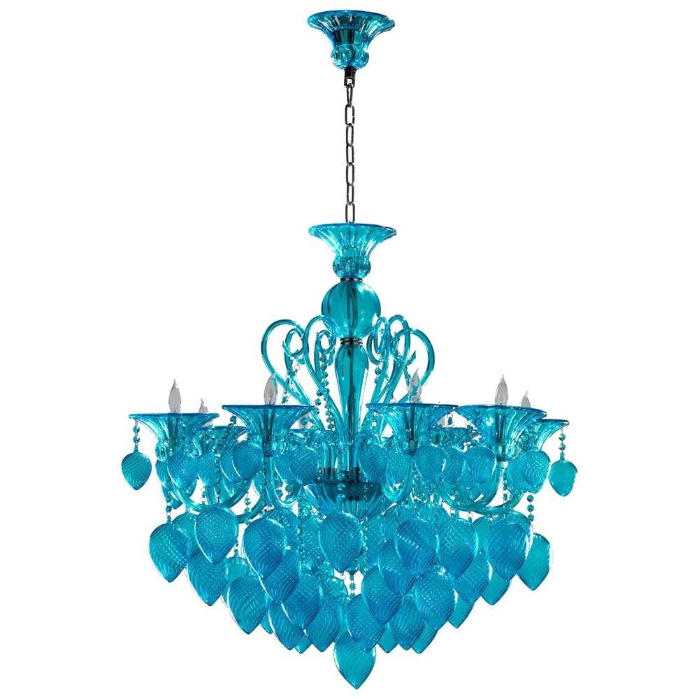 Recent Bella Vetro Light Blue Aqua Murano Glass 8 Light Ornament Chandelier In Turquoise Blue Glass Chandeliers (View 7 of 15)