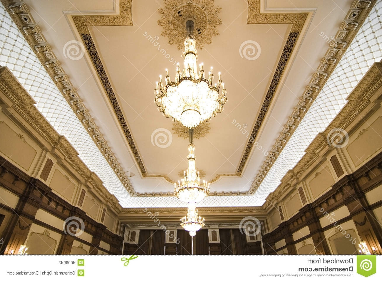 Recent Chandeliers On Ornate Ceiling Stock Photo – Image Of Interior For Ornate Chandeliers (View 9 of 15)