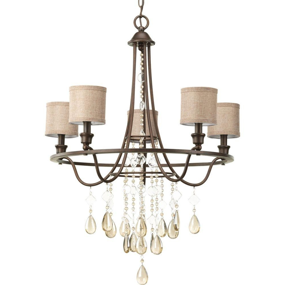 Recent Progress Lighting Flourish Collection 5 Light Cognac Chandelier With Regarding Linen Chandeliers (View 13 of 15)
