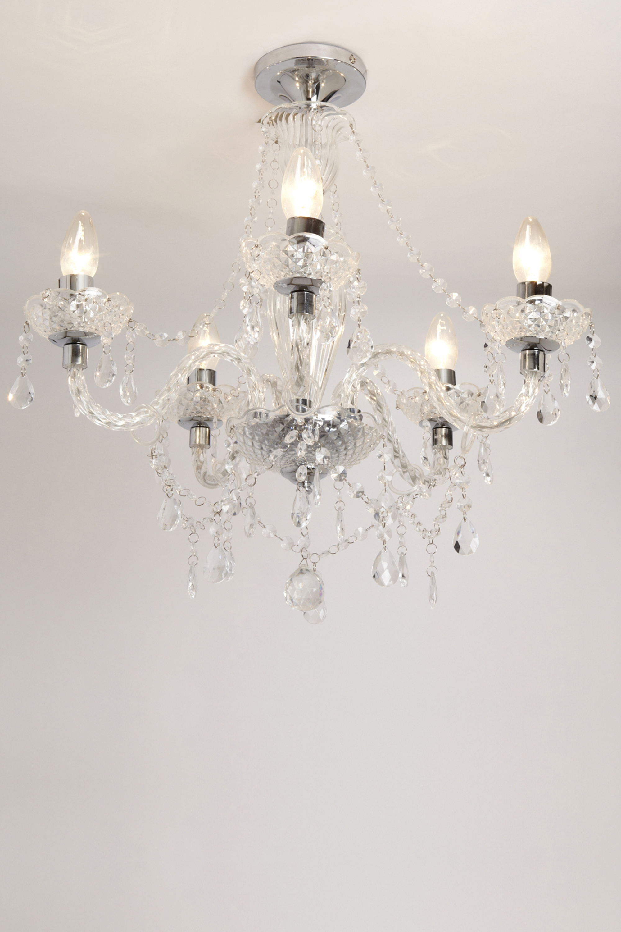 Recent Sapparia 5 Light Flush Chandelier Bhs, £60 (Was £120), Living Within Flush Fitting Chandeliers (View 2 of 15)