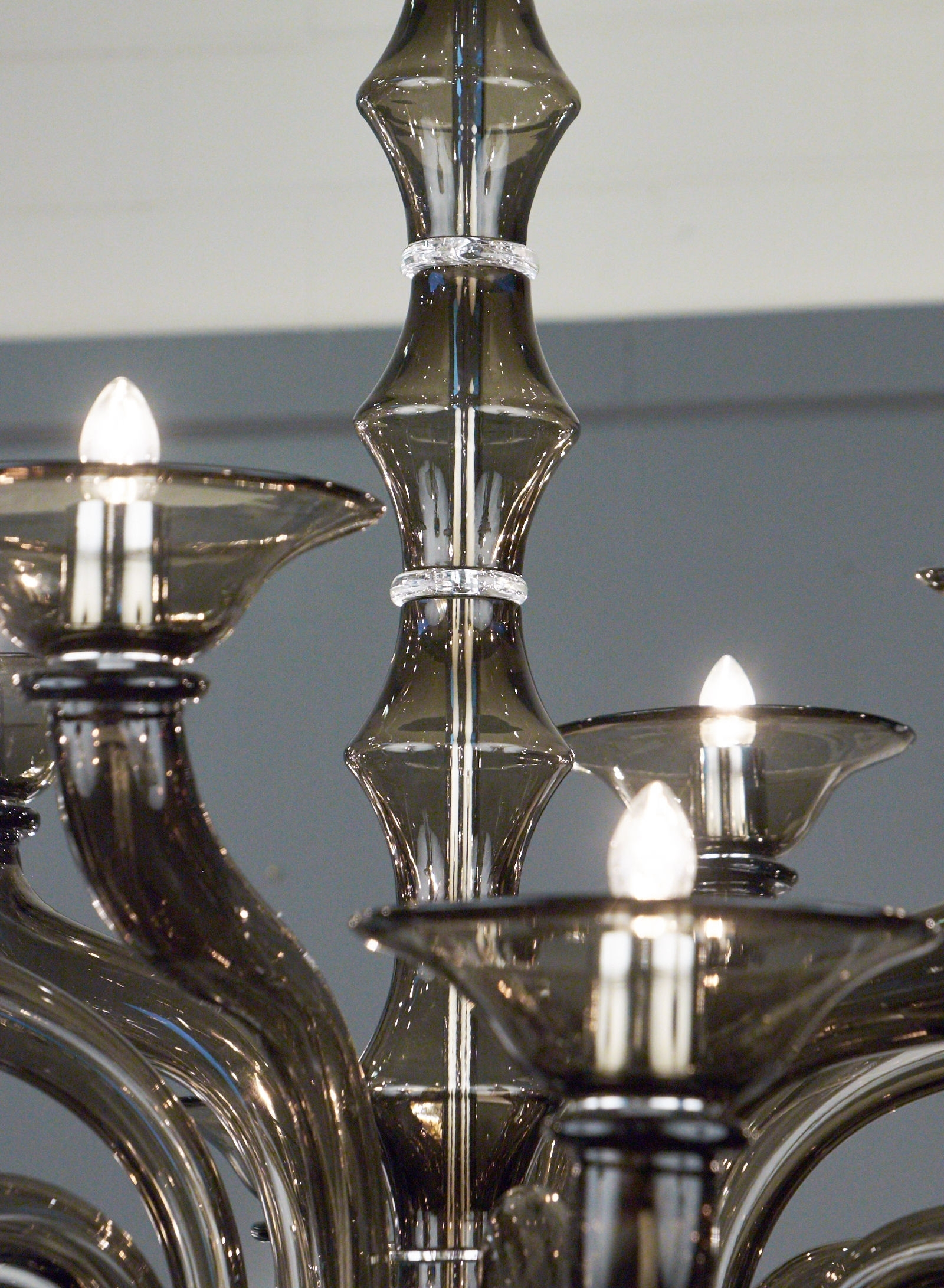 Recent Smoked Glass Chandelier With Regard To Murano Smoked Gray Mercury Glass Chandelier – Jean Marc Fray (View 7 of 15)