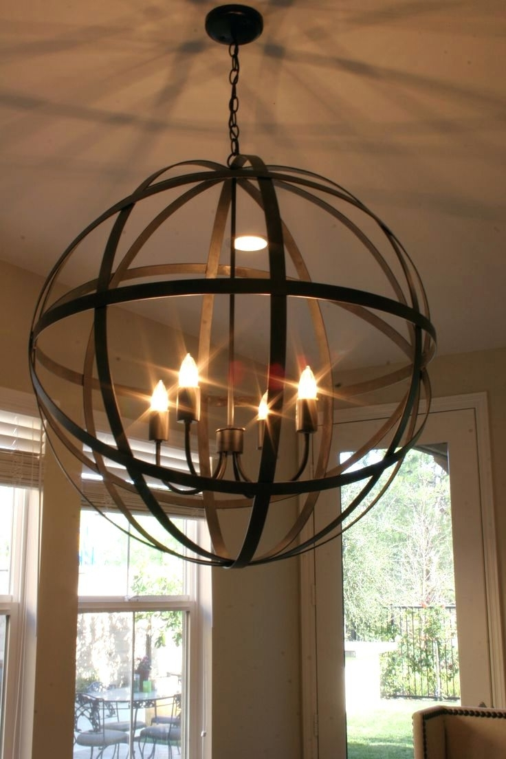 Round Ball Shaped Metal And Wood Chandelier W Pendant Light In With Regard To Well Known Metal Ball Chandeliers (View 12 of 15)
