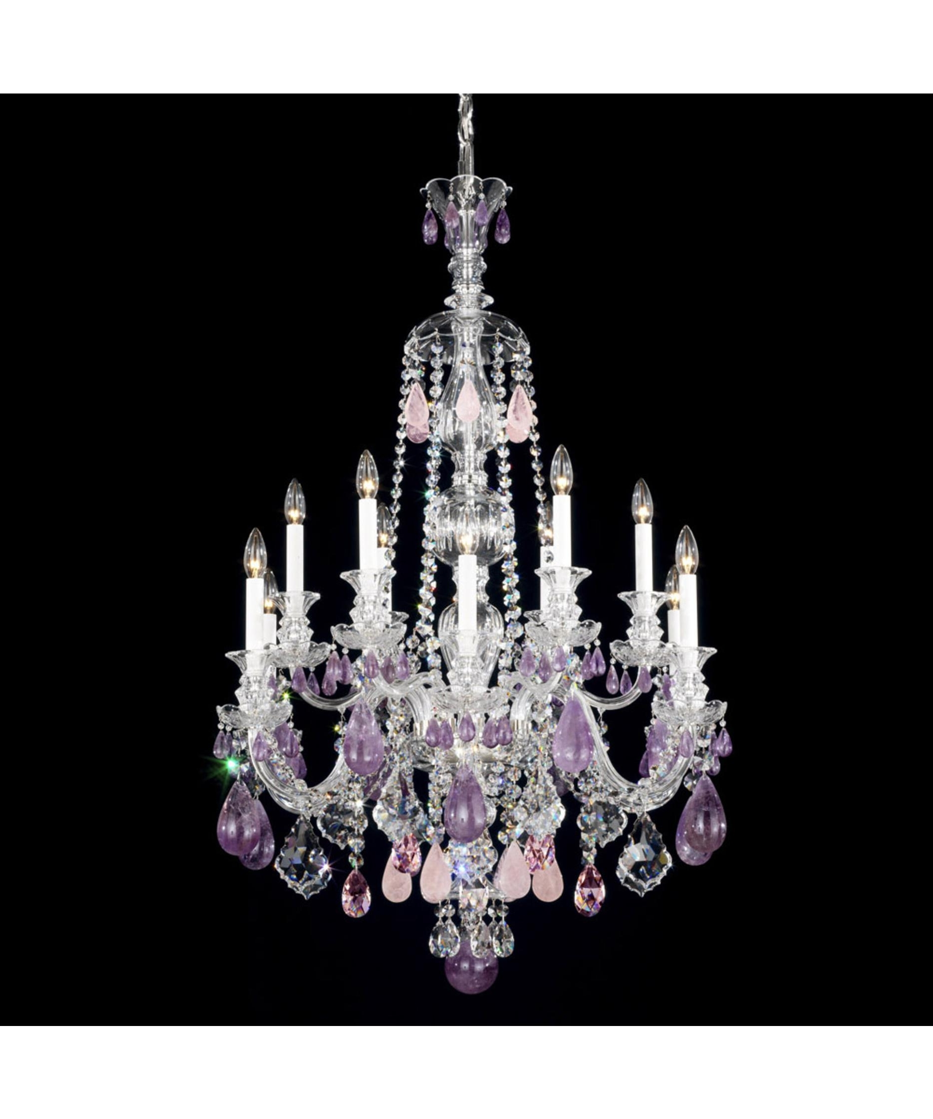 Schonbek 5508 Hamilton Rock Crystal 30 Inch Wide 12 Light Chandelier For Latest Purple Crystal Chandelier Lighting (View 13 of 15)