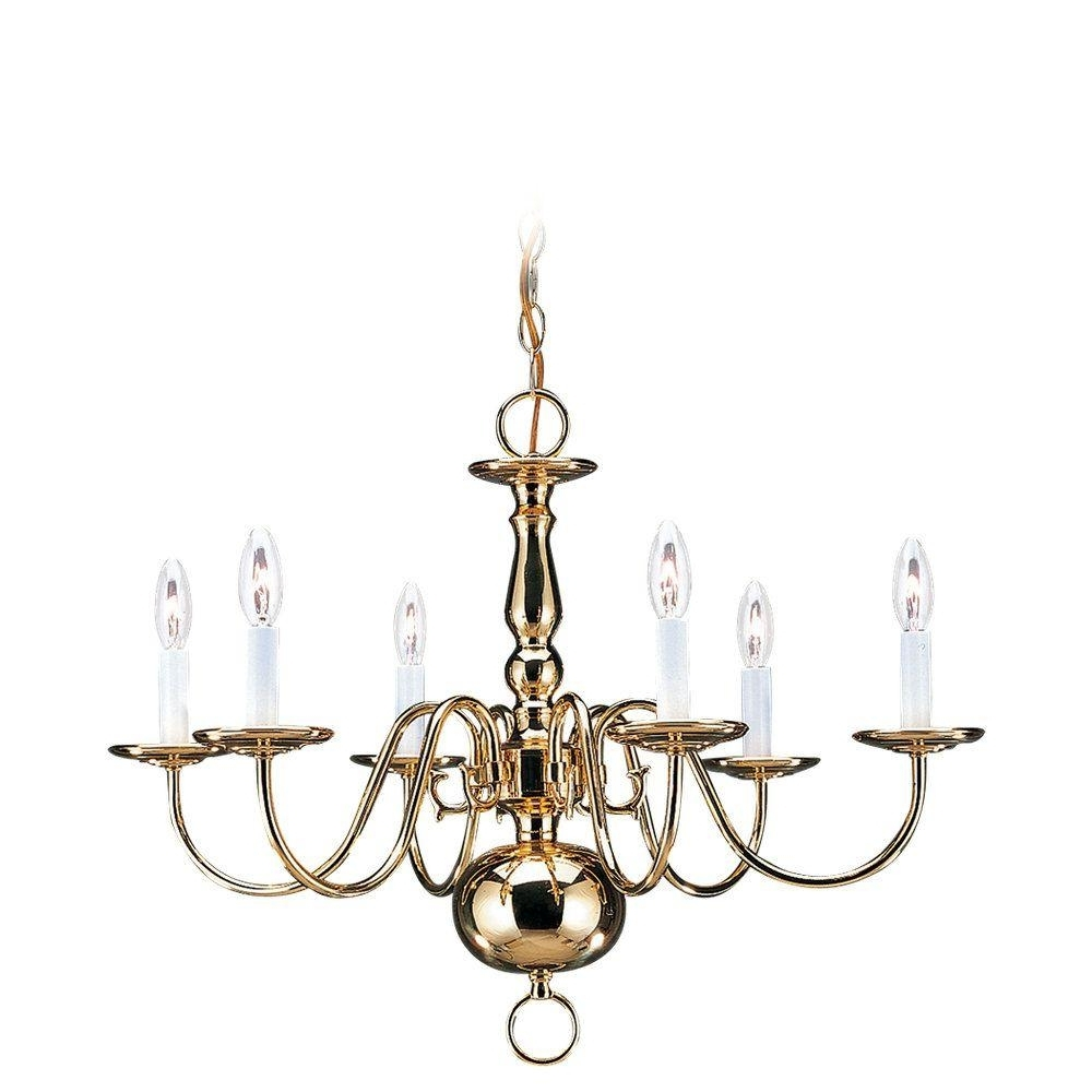 Sea Gull Lighting Traditional 6 Light Polished Brass Colonial Style Throughout Recent Traditional Brass Chandeliers (View 12 of 15)