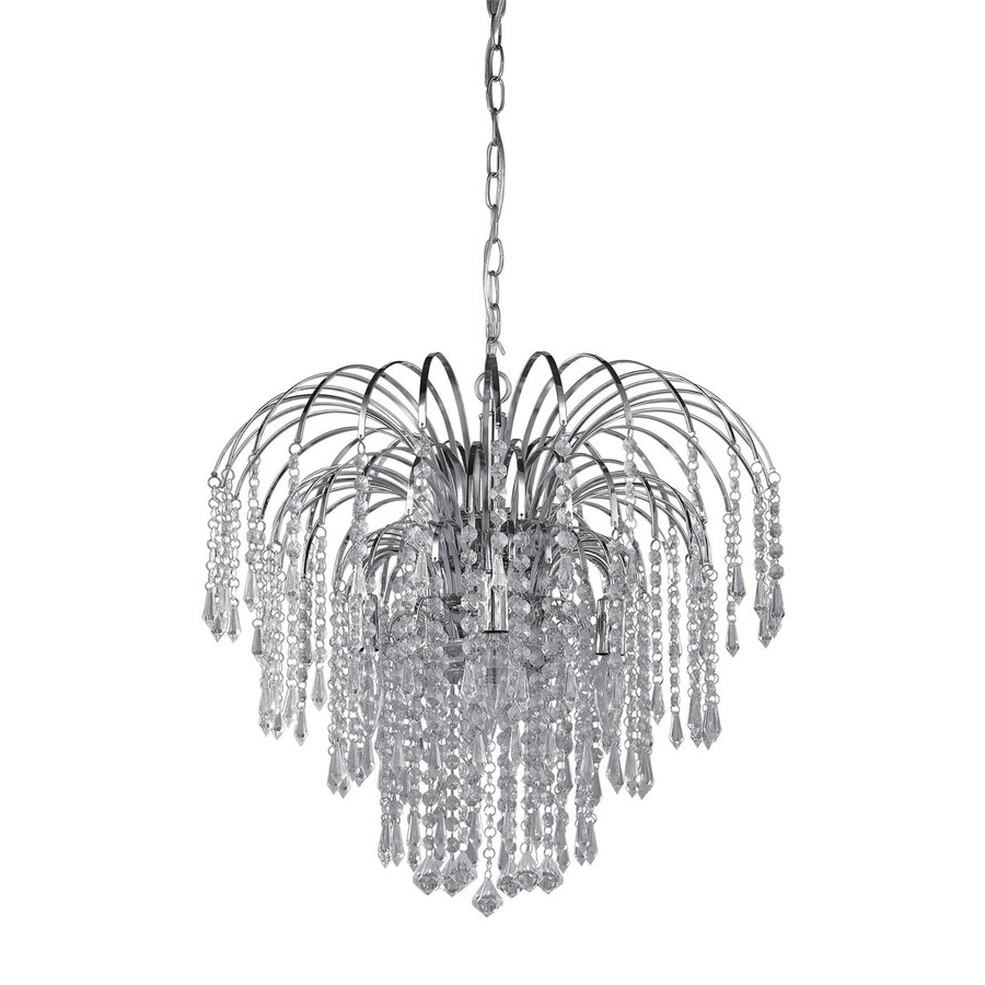 Shop Canarm Olivia 19 In 4 Light Chrome Crystal Crystal Waterfall Regarding Most Recently Released Waterfall Chandeliers (View 8 of 15)
