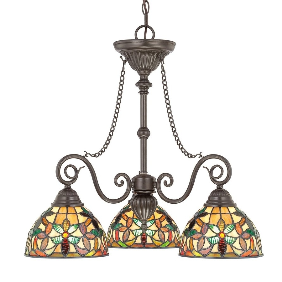 Shop Cascadia Lighting Kami 25 In 3 Light Vintage Bronze Tiffany Regarding Newest Vintage Style Chandelier (View 6 of 15)