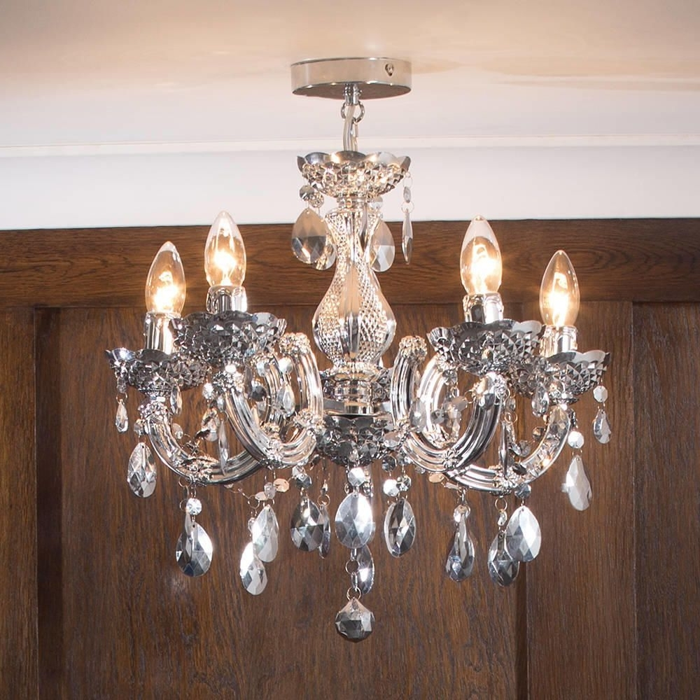 Short Chandelier Lights Within Current Marie Therese Chandelier 5 Light Dual Mount – Silver From Litecraft (View 3 of 15)