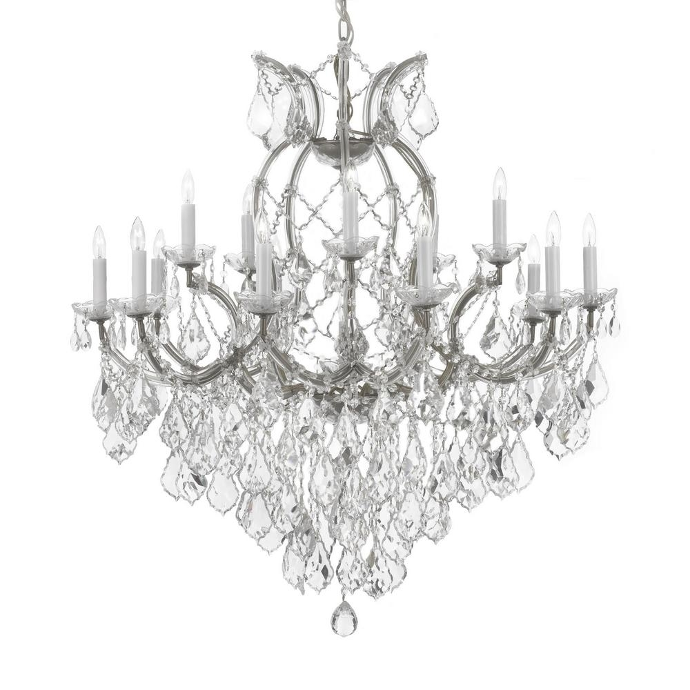 Silver Chandeliers For Well Liked Maria Theresa 16 Light Empress Crystal Chandelier Silver T40 (View 6 of 15)