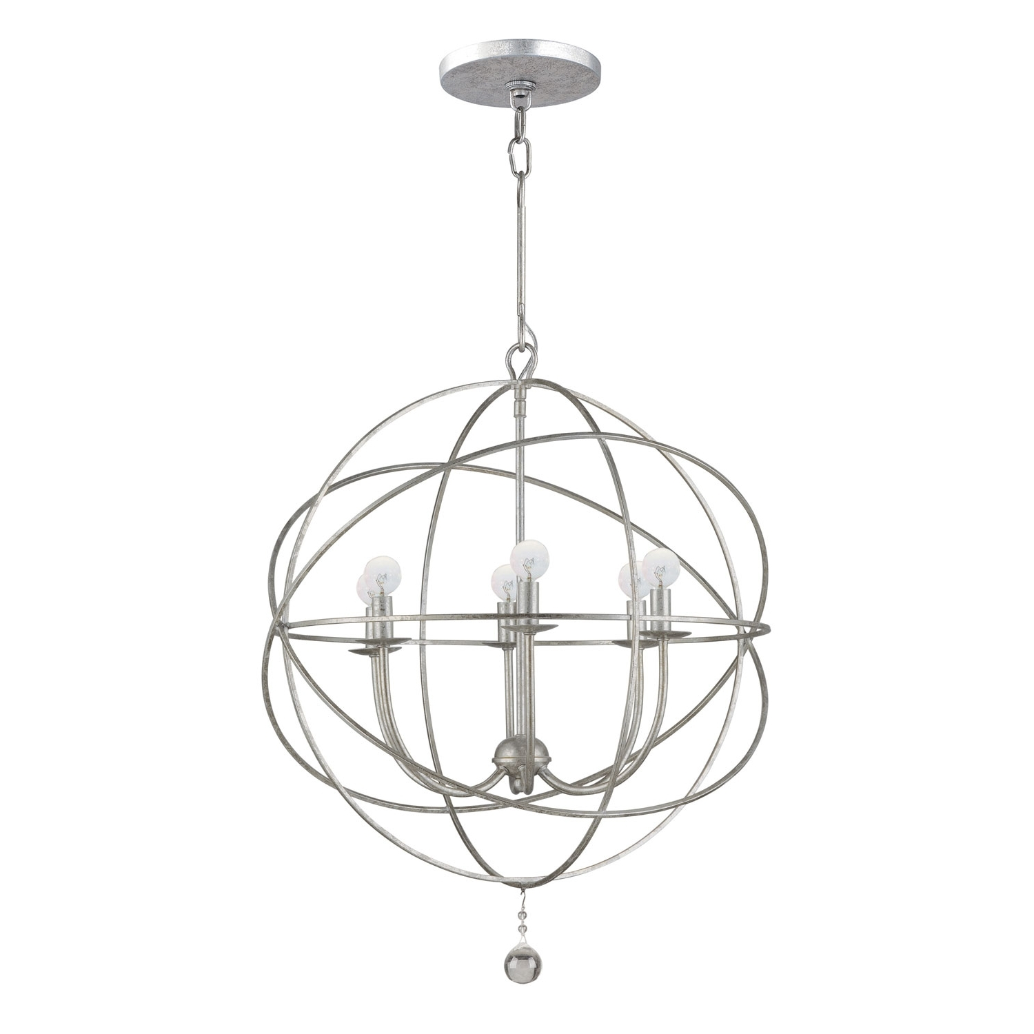 Silver Chandeliers Regarding 2017 Crystorama Lighting Group Solaris Olde Silver Six Light Chandelier (View 10 of 15)