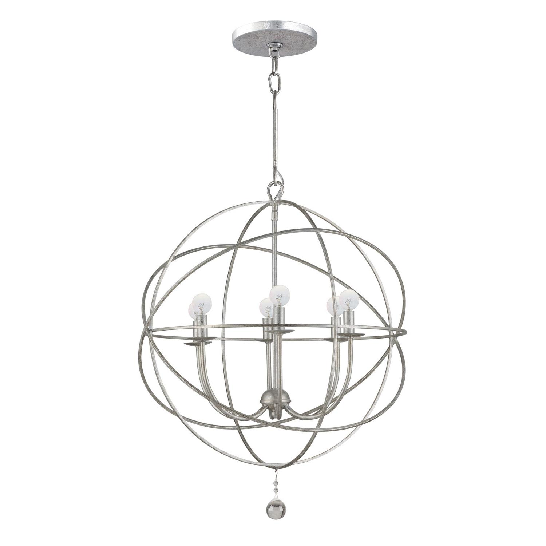 Silver Chandeliers Regarding 2017 Crystorama Lighting Group Solaris Olde Silver Six Light Chandelier (View 2 of 15)