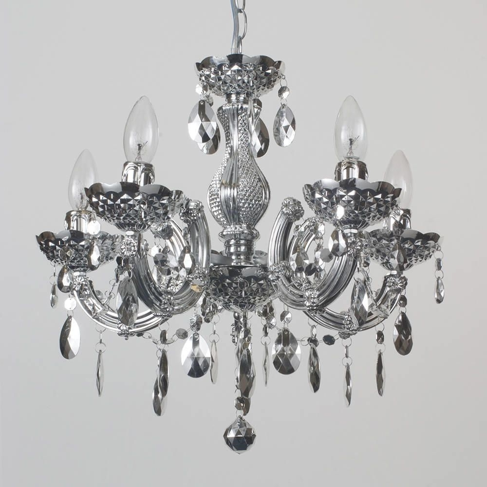 Silver Chandeliers Throughout Preferred Marie Therese Chandelier 5 Light Dual Mount – Silver From Litecraft (View 11 of 15)