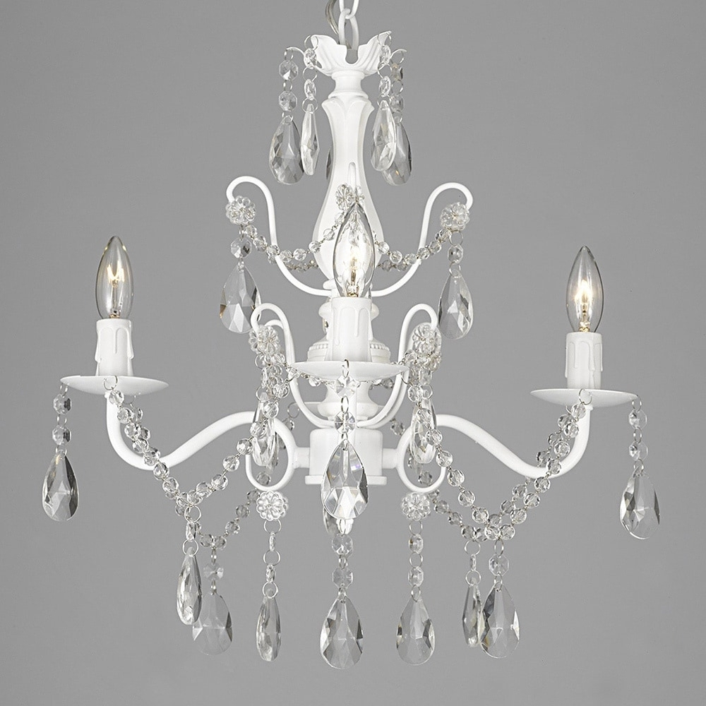 Silver Orchid Keaton Wrought Iron And Crystal White 4 Light Pertaining To Newest White Chandelier (View 6 of 15)