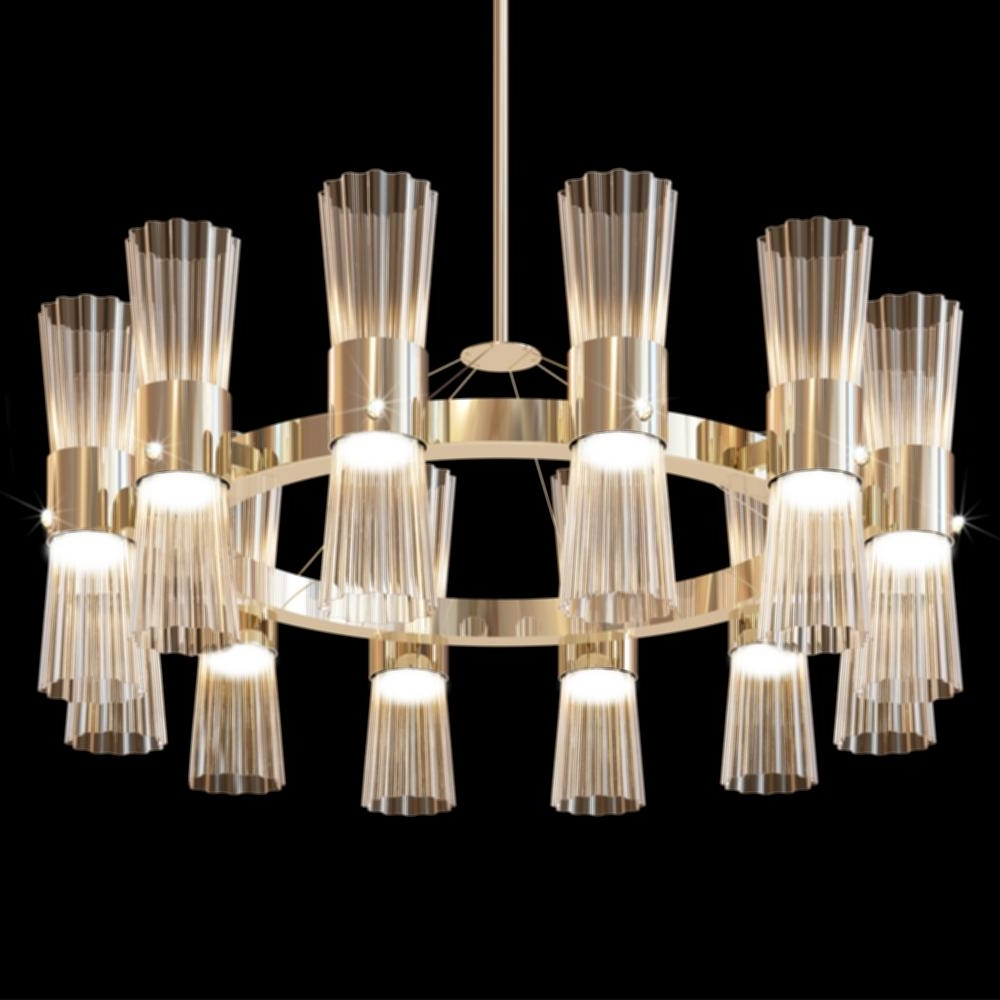 Simple Glass Chandelier Throughout Popular Gold Leaf Chandelier Light Modern Gold Leaf Murano Glass Chandelier (View 12 of 15)