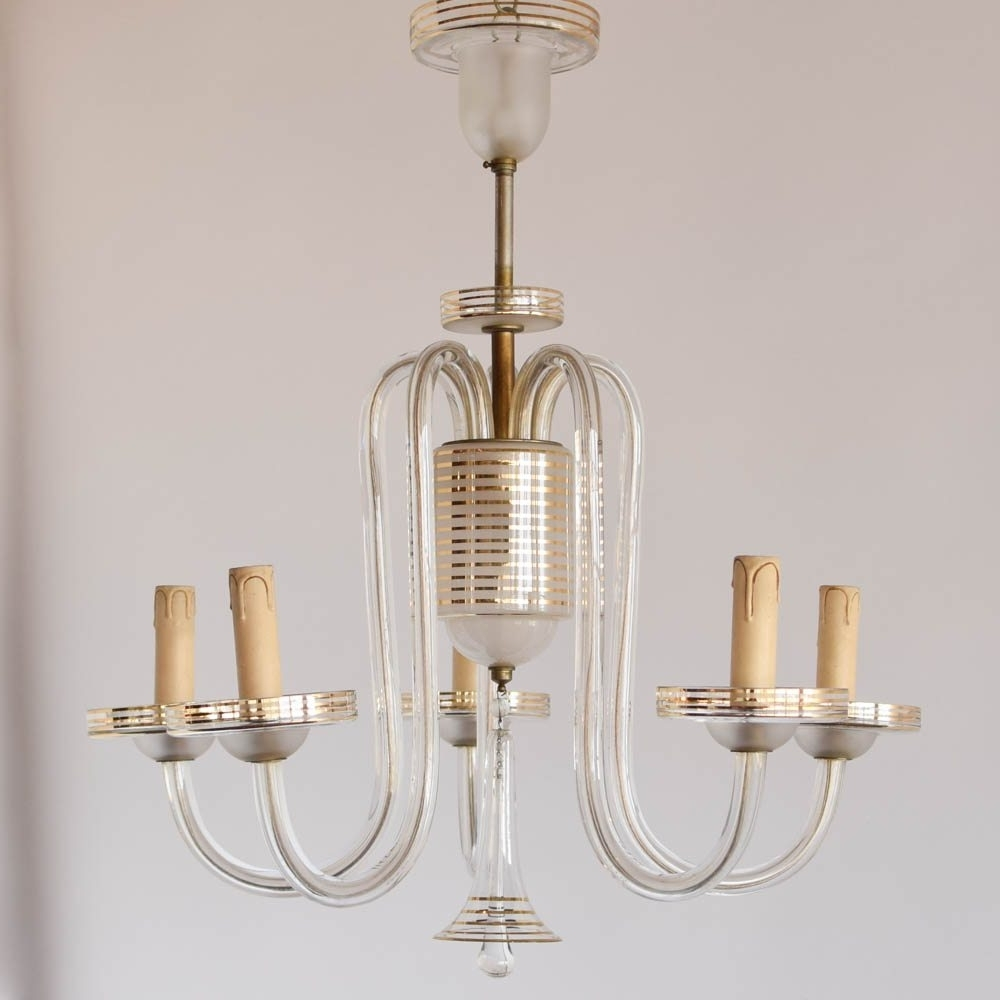 Simple Glass Chandelier W/gold Stripes – The Big Chandelier Pertaining To 2017 French Glass Chandelier (View 9 of 15)