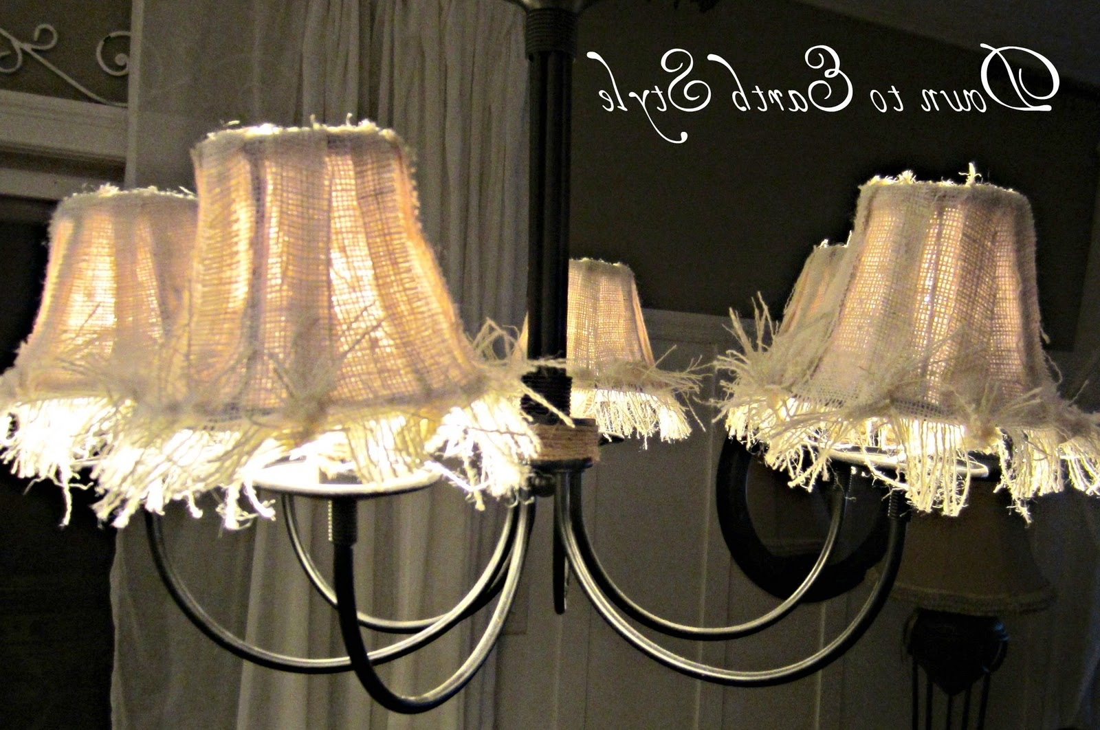 Small Chandelier Lamp Shades For Popular Down To Earth Style: Raggy Burlap Lamp Shades (View 12 of 15)