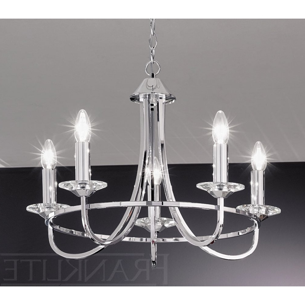 Small Chrome Chandelier Inside 2018 Franklite Carousel Chrome Fl2146/5 5 Light Chrome Chandelier (View 3 of 15)