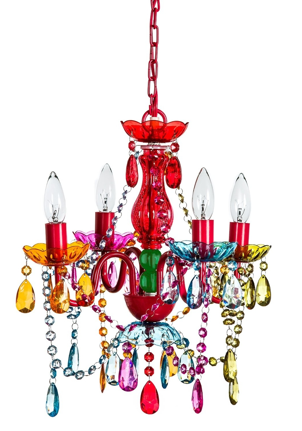 Small Gypsy Chandeliers Intended For Best And Newest Funky & Cool: Multi Color Crystal Chandelier For Girls' Room (View 11 of 15)