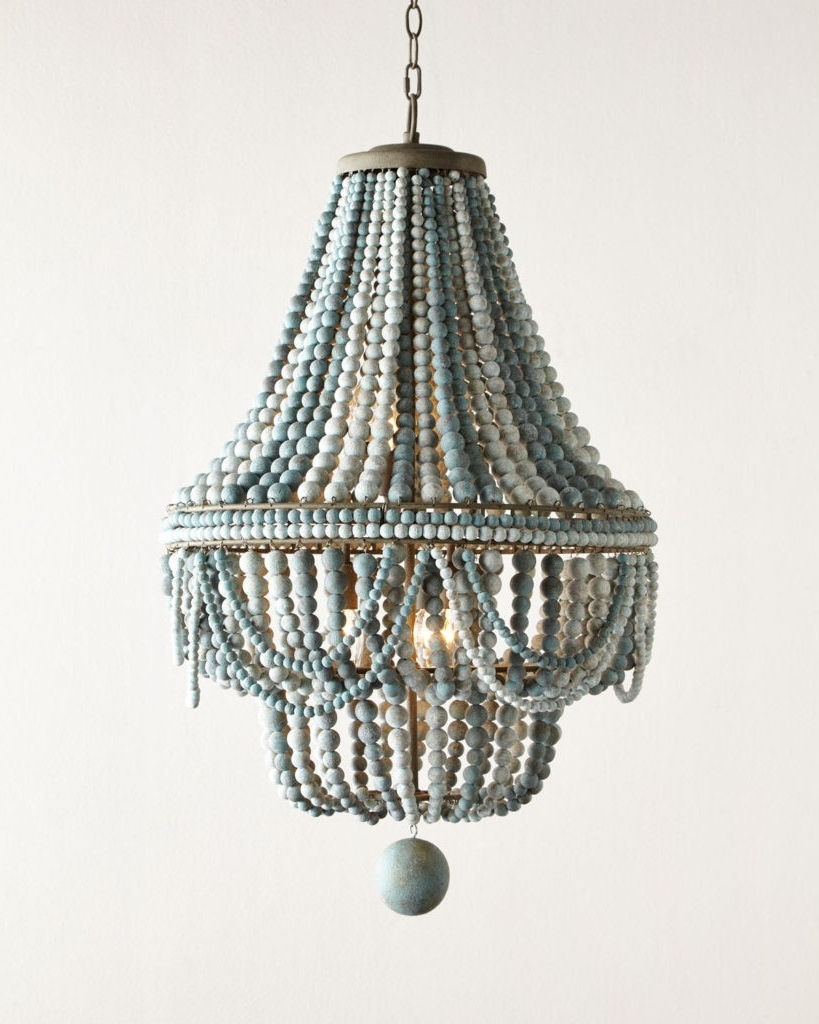 Small Turquoise Beaded Chandeliers Throughout Best And Newest Lighting : Aqua Light Turquoise Green Vintage Style Chandelier (View 2 of 15)
