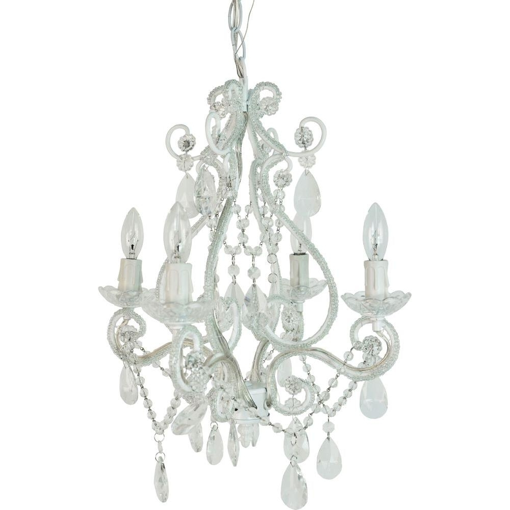 Small White Chandeliers Regarding 2017 Tadpoles 4 Light White Mini Chandelier Cchapl410 – The Home Depot (View 13 of 15)