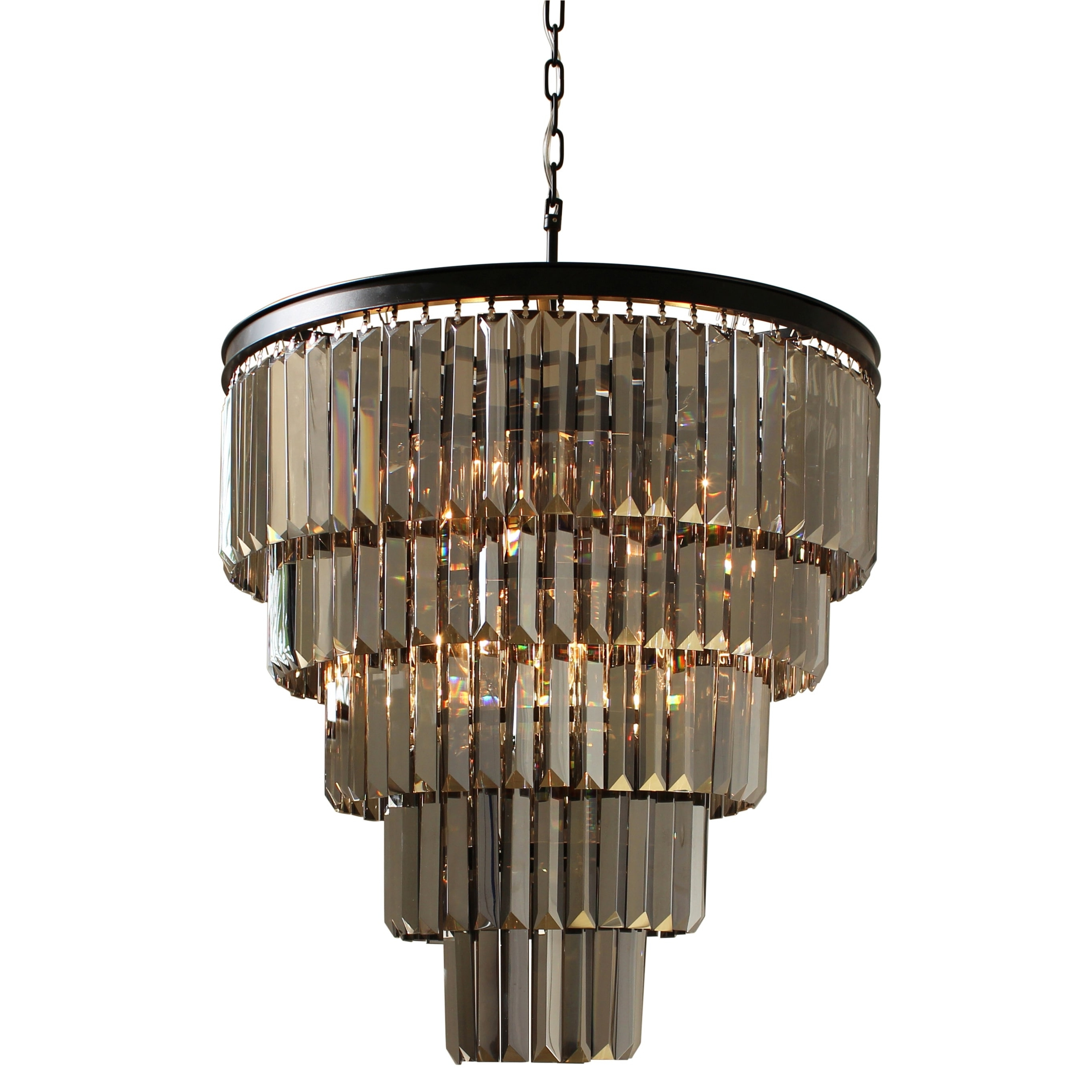 Smoked Glass Chandelier Regarding Preferred D'angelo 5 Tier Iron Round Fringe Crystal Smoked Glass Chandelier (View 9 of 15)