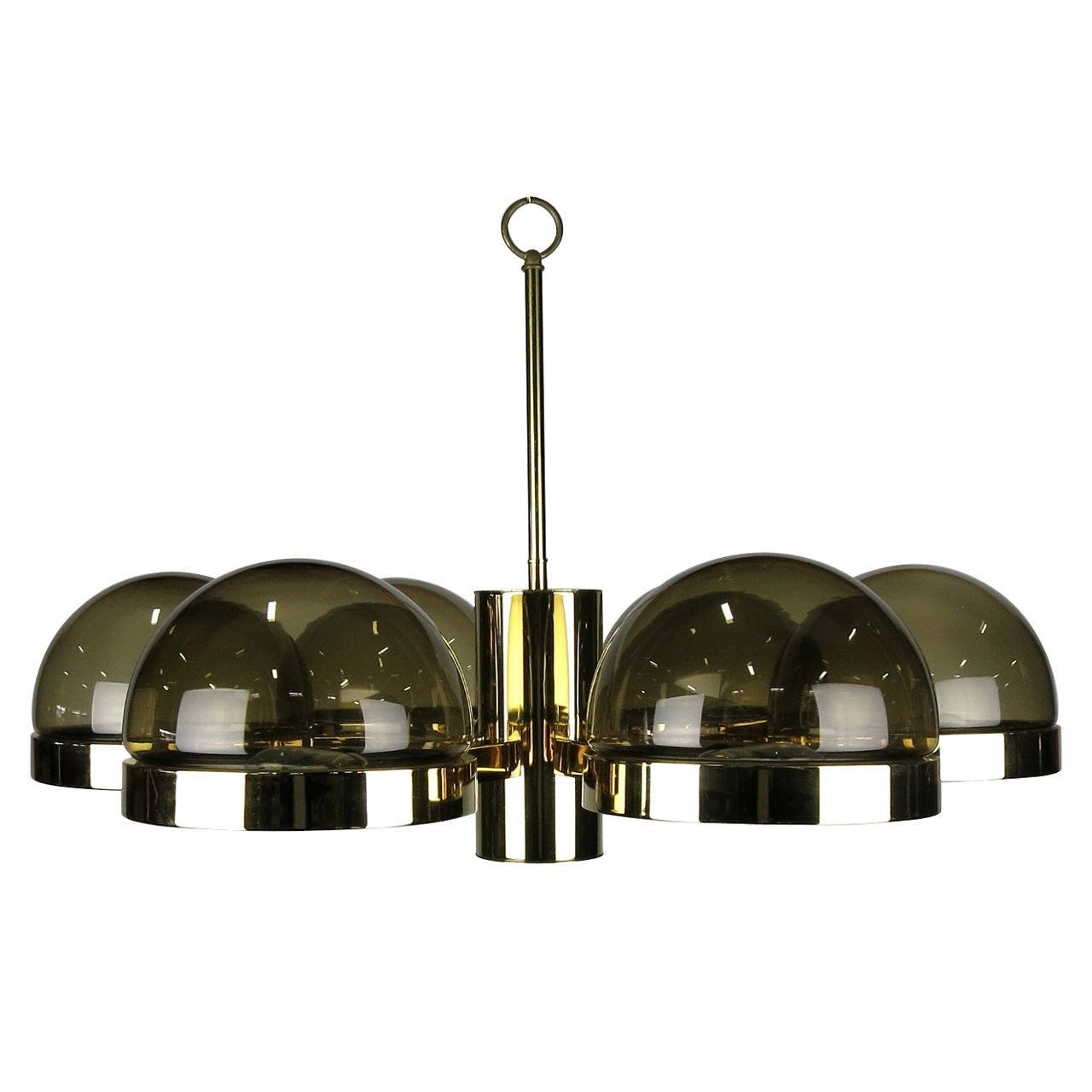 Smoked Glass Chandelier within 2018 Large 1970S Mod Brass And Smoked Glass Chandelier For Sale At 1Stdibs