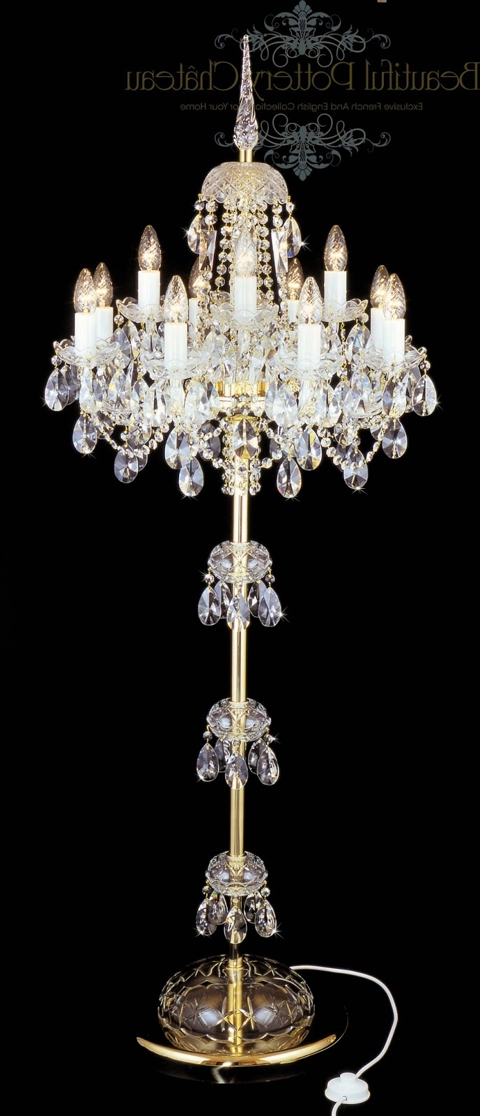 Standing Chandeliers With Regard To Popular Beautiful Pottery: Bohemian Crystals Standing Chandelier (View 12 of 15)