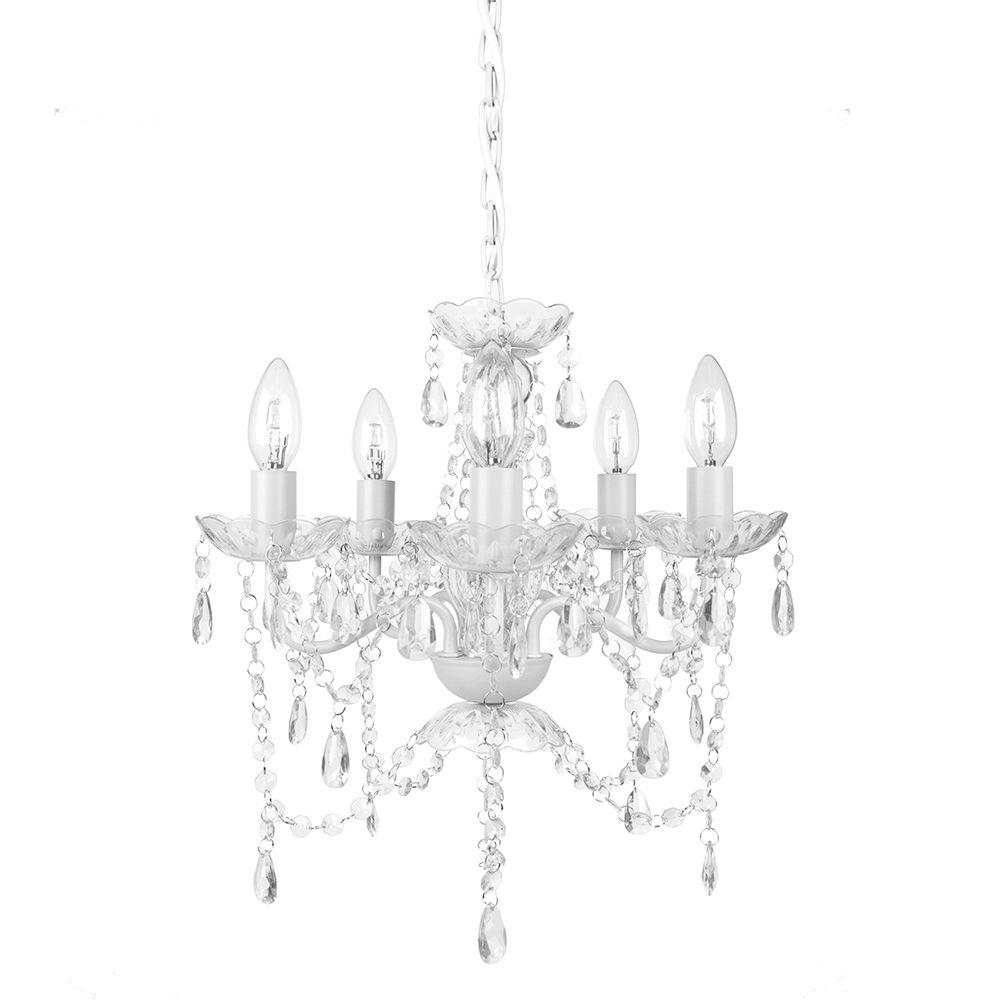 Tadpoles 5 Light White Diamond Chandelier Cch5Pl010 – The Home Depot Inside Fashionable White Chandeliers (View 4 of 15)