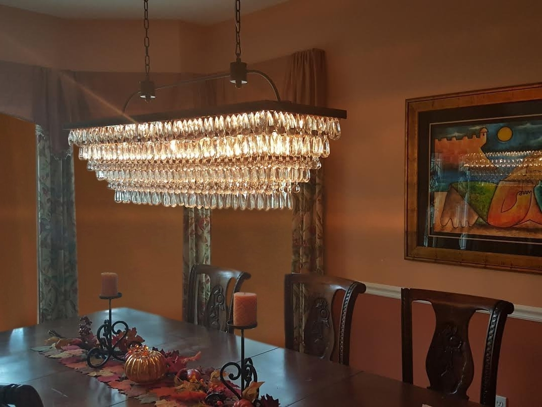 The Weston 40 Inch Rectangular Glass Drop Crystal Chandelier Inside 2018 Glass Droplet Chandelier (View 14 of 15)
