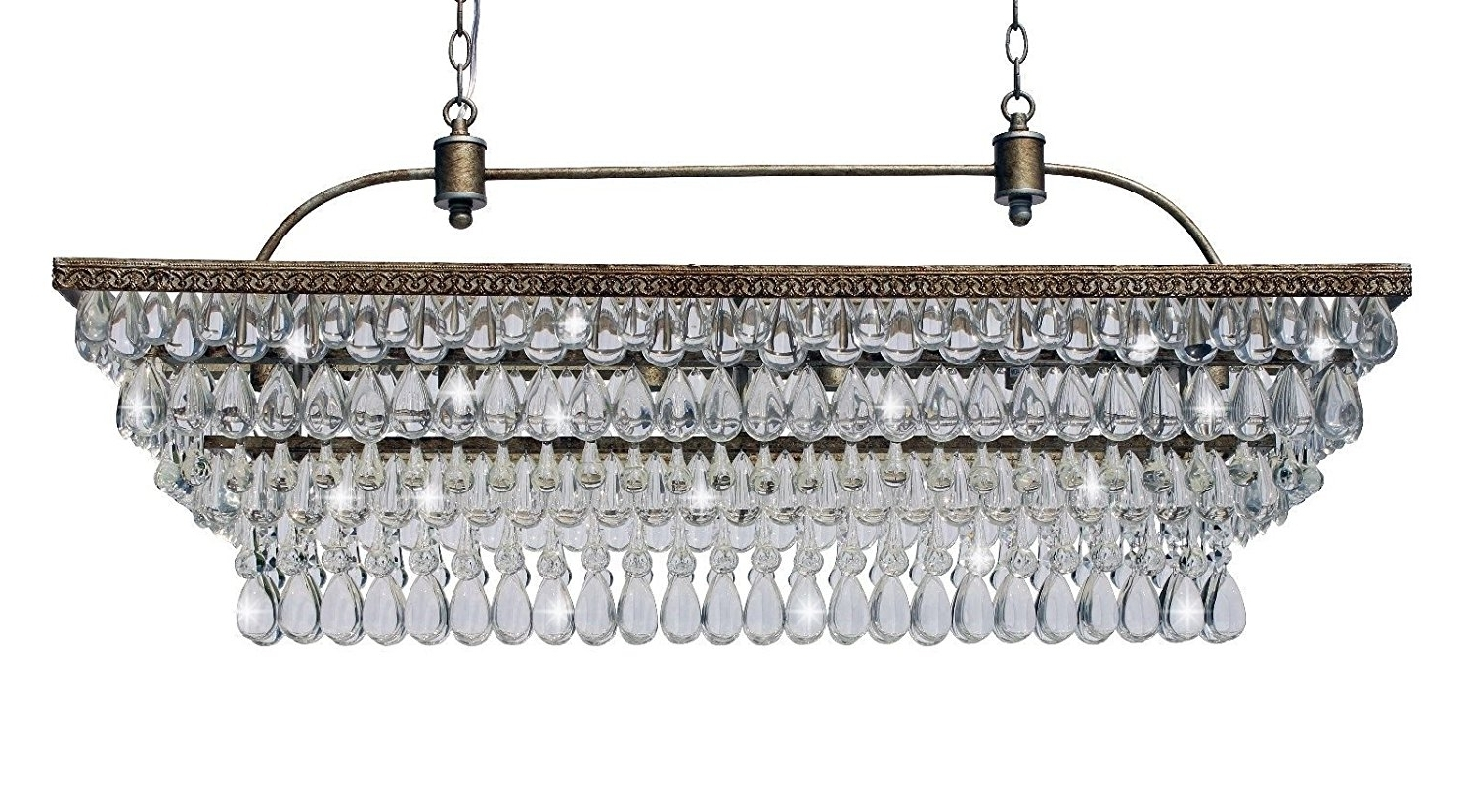 The Weston 40 Inch Rectangular Glass Drop Crystal Chandelier Pertaining To Fashionable Glass Droplet Chandelier (View 14 of 15)