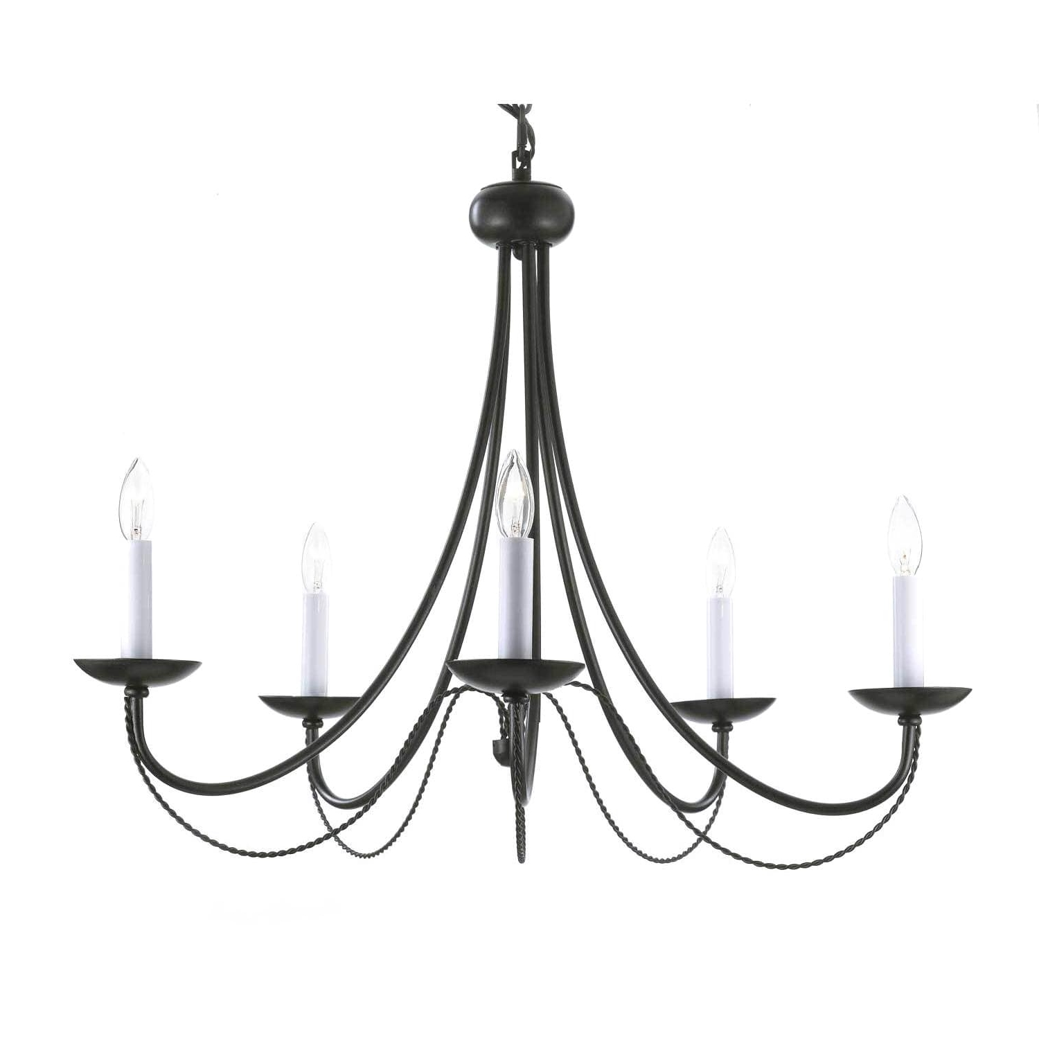 Trendy Gallery Versailles 5 Light Black Wrought Iron Chandelier – Free Intended For Wrought Iron Chandeliers (View 13 of 15)