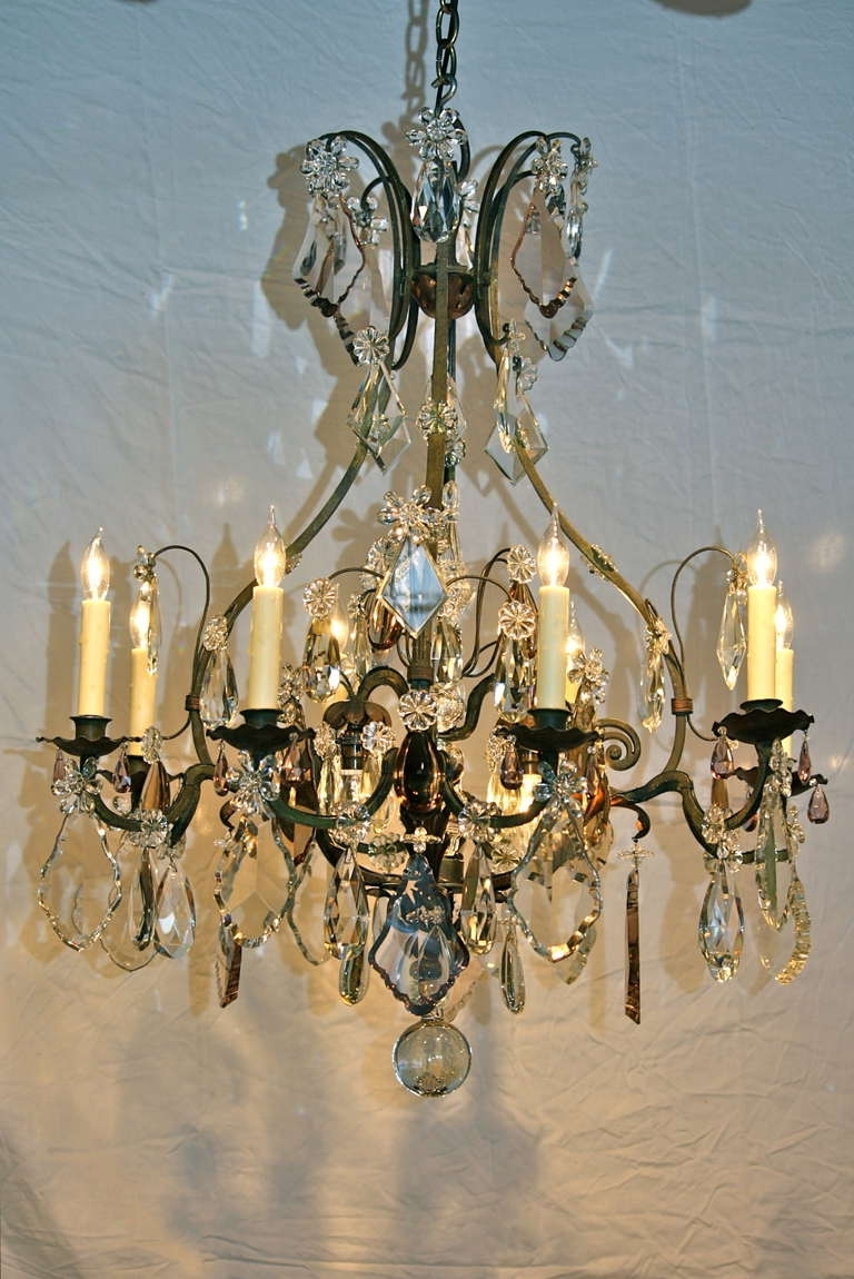 Trendy Large Iron Chandelier Intended For Large French Wrought Iron And Crystal Chandeliermaison Baguès (View 6 of 15)