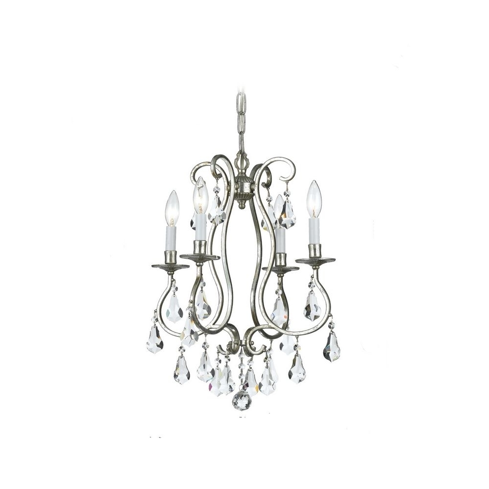 Trendy Lighting: Crystal Mini Chandelier In Old Silver Finish With Modern Throughout Tiny Chandeliers (View 14 of 15)
