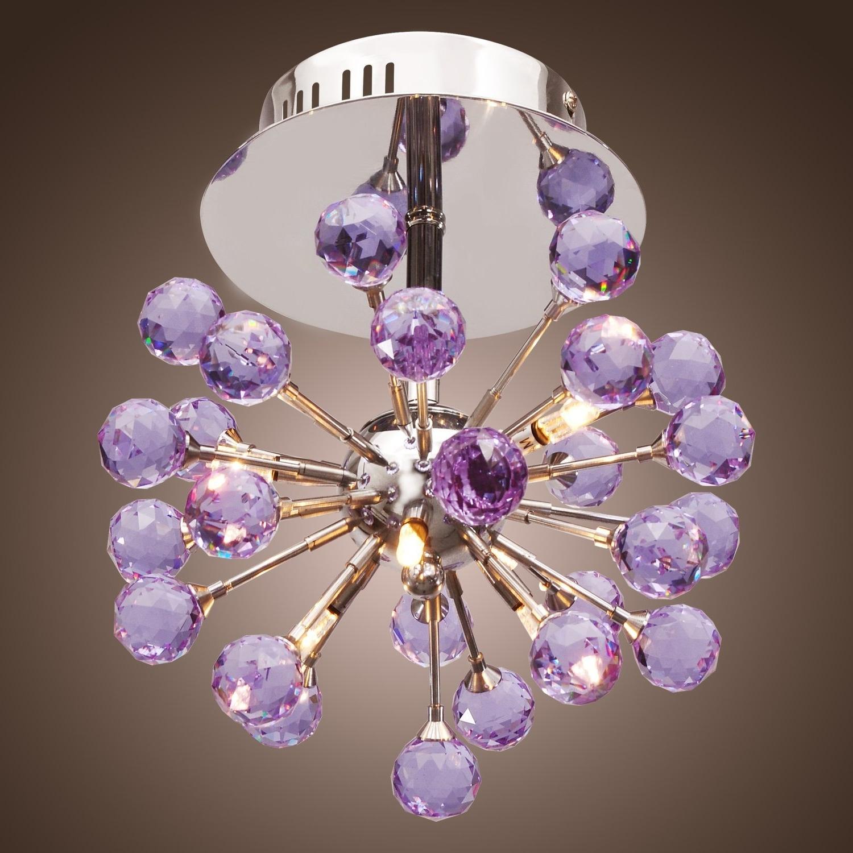 Trendy Lightinthebox 6 Light Floral Shape K9 Crystal Ceiling Light Purple For Purple Crystal Chandelier Lighting (View 13 of 15)