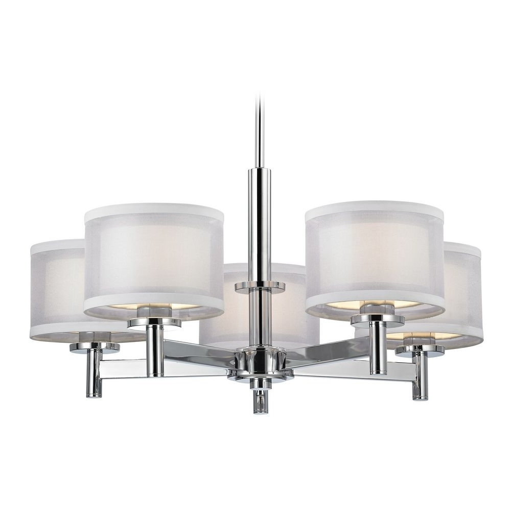 Trendy Modern Chrome Chandeliers Regarding Double Organza Chandelier Chrome 5 Lt (View 2 of 15)