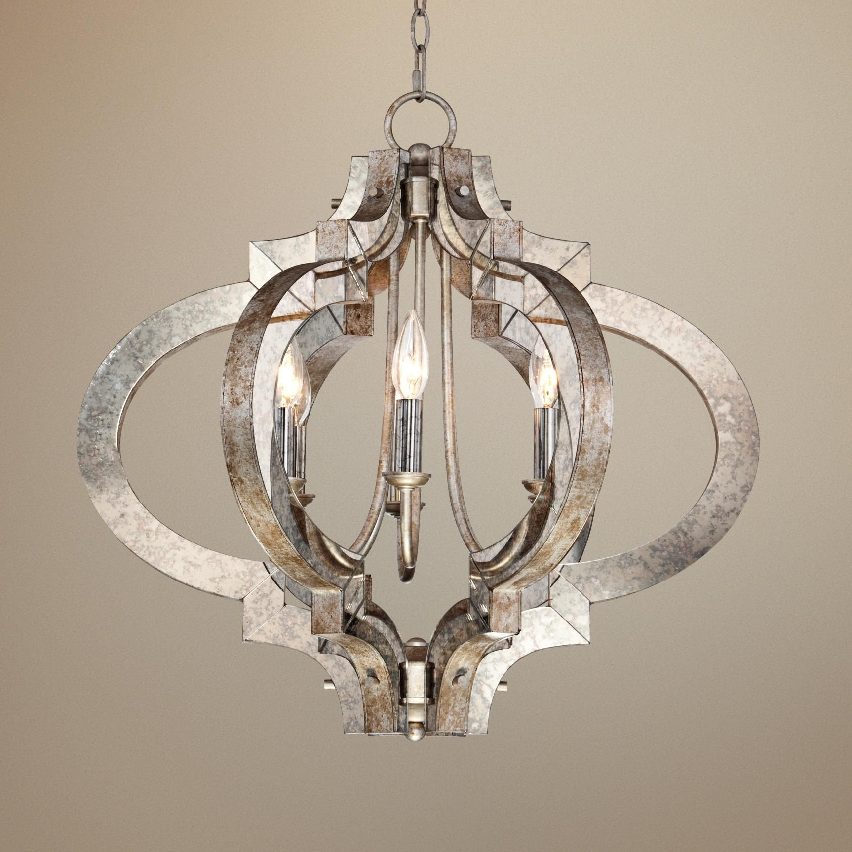 Trendy Silver Chandeliers With Possini Ornament Aged Silver 6 Light Chandelier – Style # T (View 12 of 15)