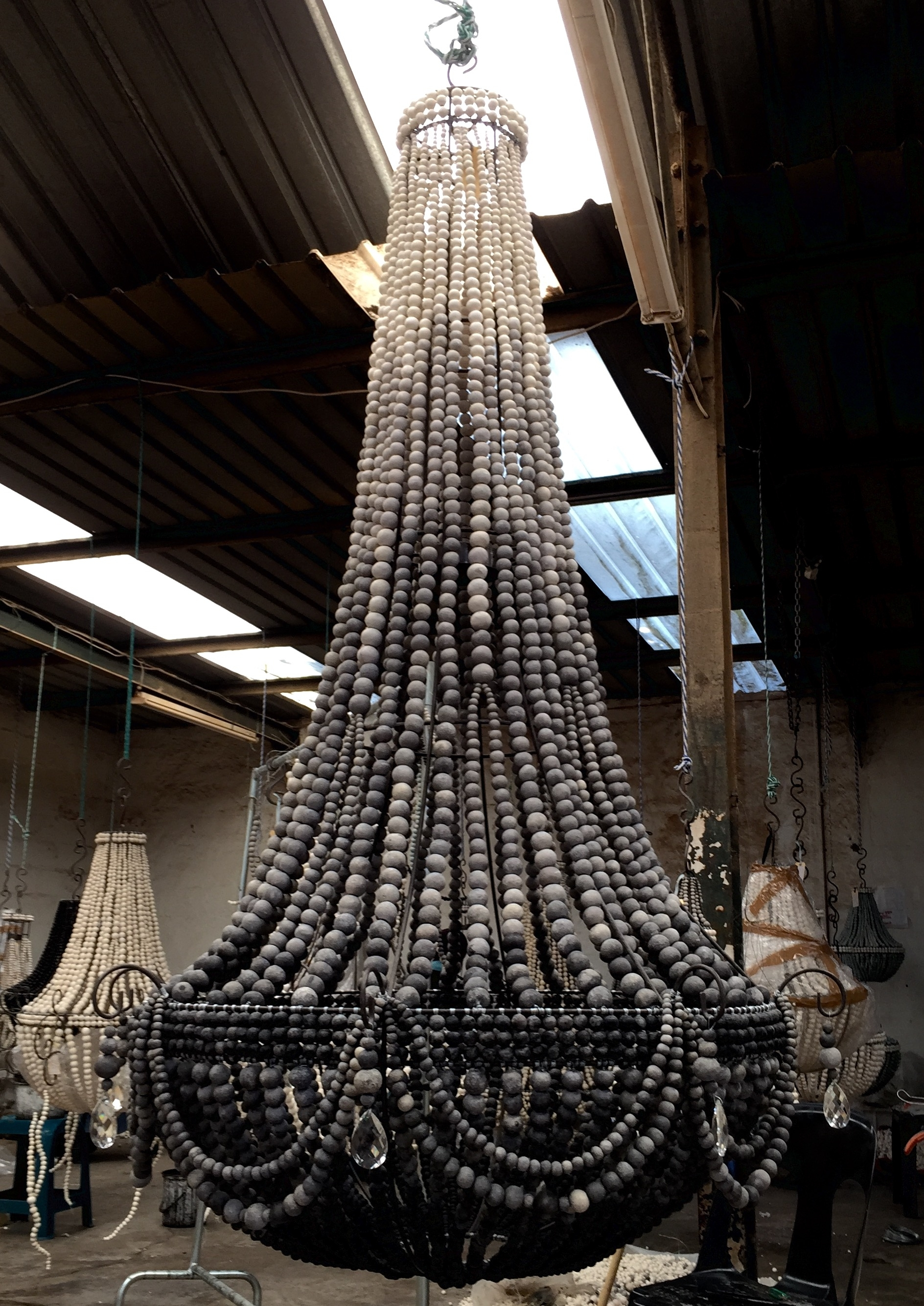 Trendy Small Turquoise Beaded Chandeliers with regard to Gorgeous Xl Elongated Design Ceramic Bead Chandelier In Our Ombré