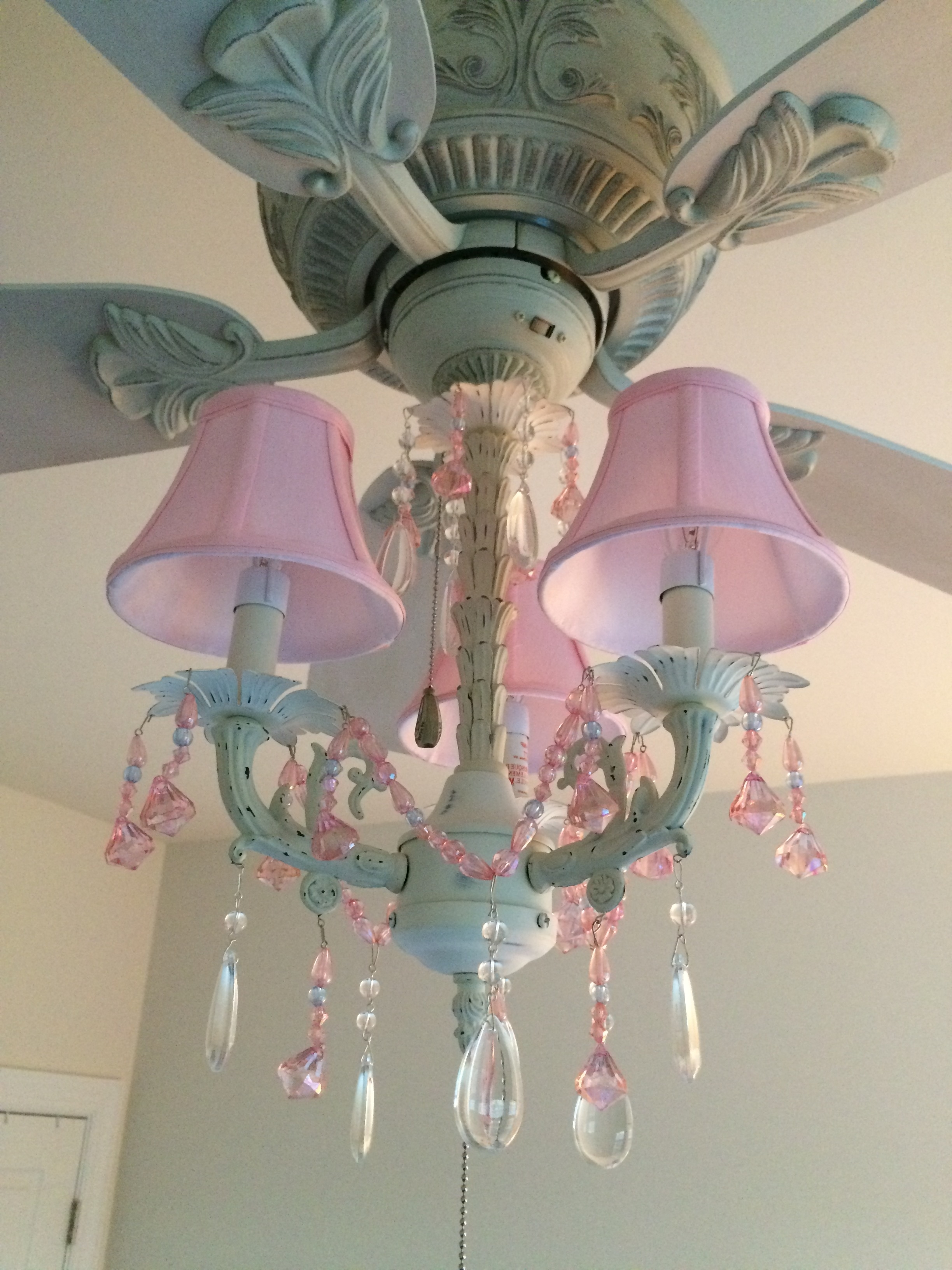Turquoise And Pink Chandeliers Throughout Latest Pink Chandelier Ceiling Fan And Light Kit (Fandelier) – Perfect For (View 15 of 15)