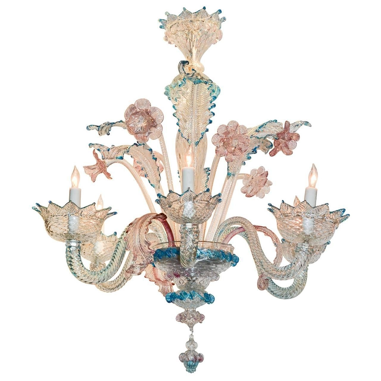 Turquoise And Pink Chandeliers With Popular Lovely Antique Blue And Pink Murano Glass Chandelier At 1Stdibs (View 2 of 15)